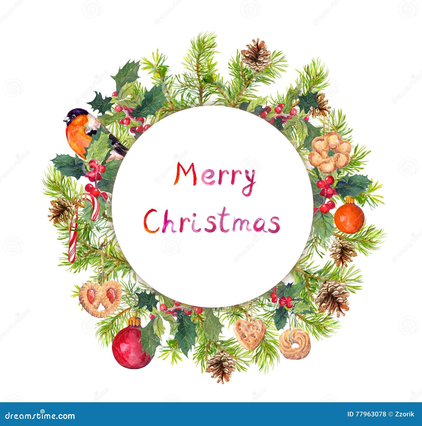 Στεφάνι Χριστουγέννων - κομψοί κλάδοι δέντρων, γκι, πουλί, μπισκότα watercolor