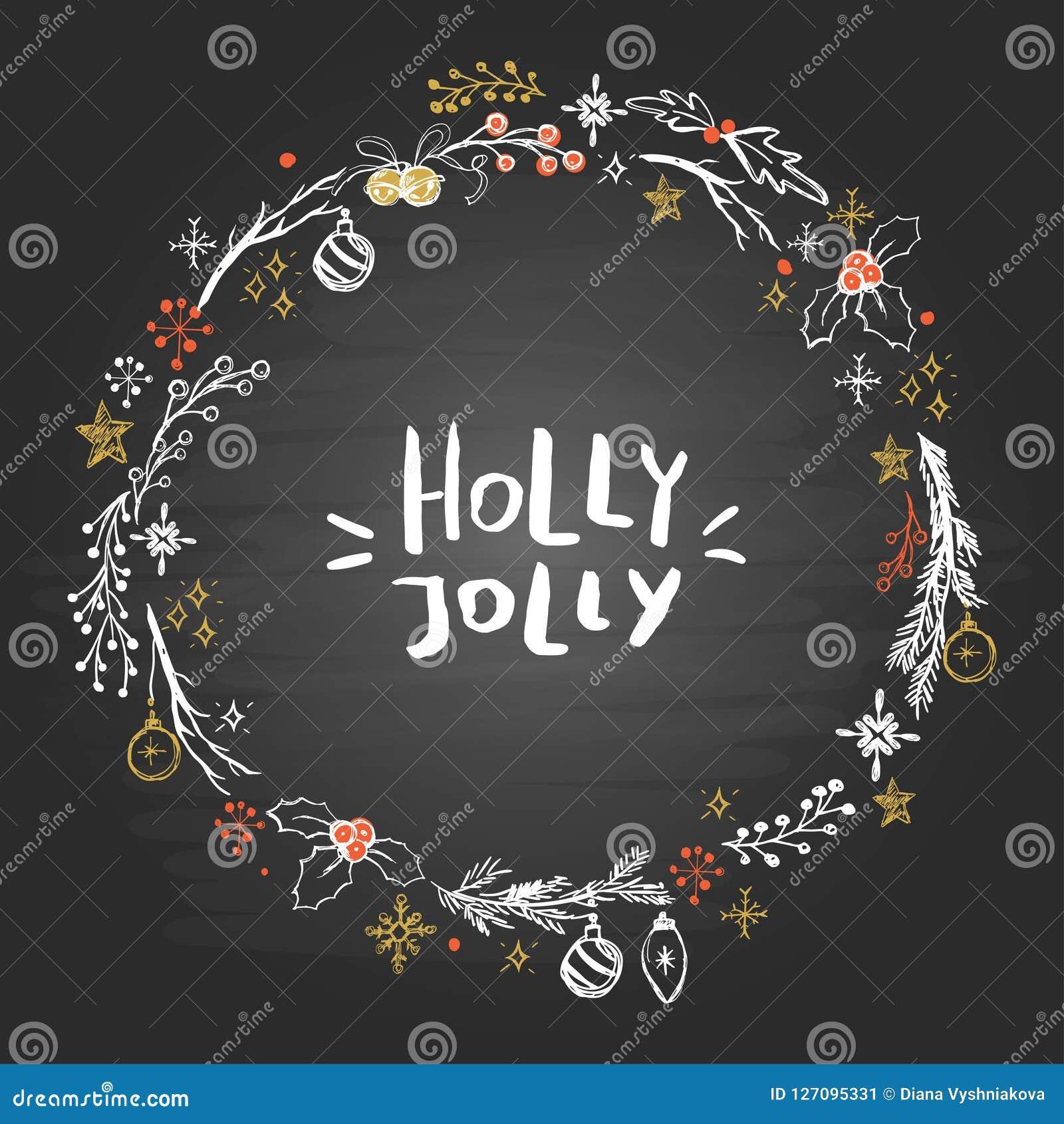 Στεφάνι Χριστουγέννων με συρμένα τα χέρι στοιχεία στον πίνακα