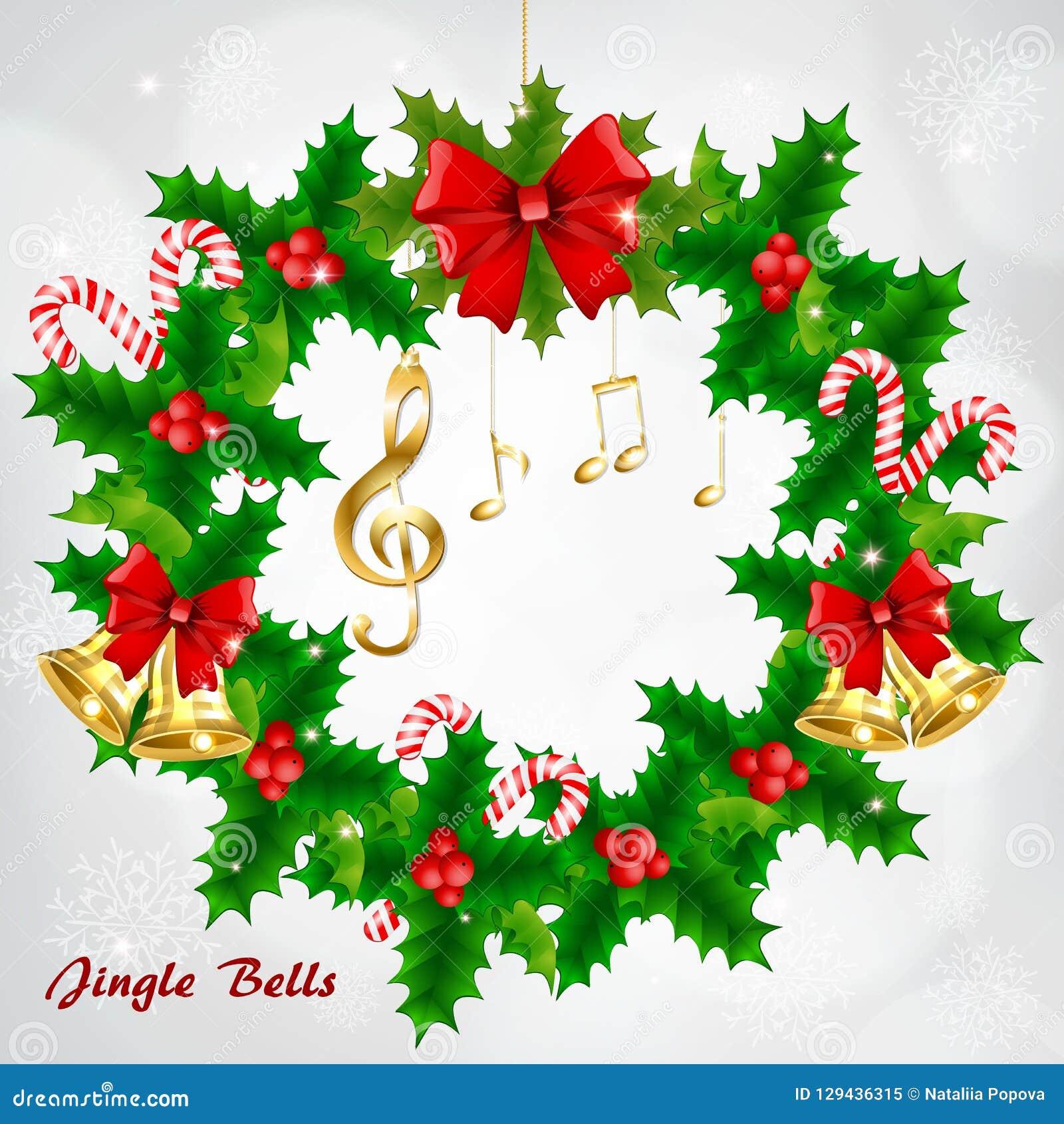 Στεφάνι Χριστουγέννων με τις χρυσές μουσικές νότες και το τριπλό clef