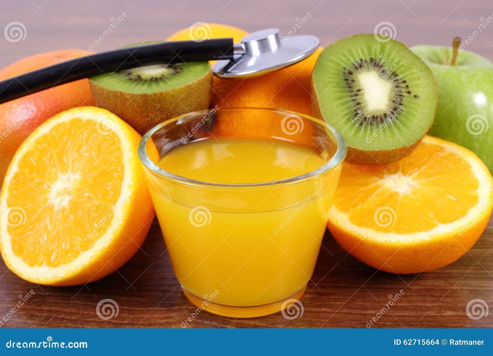 Στηθοσκόπιο, νωπός καρποί και χυμός, υγιείς τρόποι ζωής και διατροφή