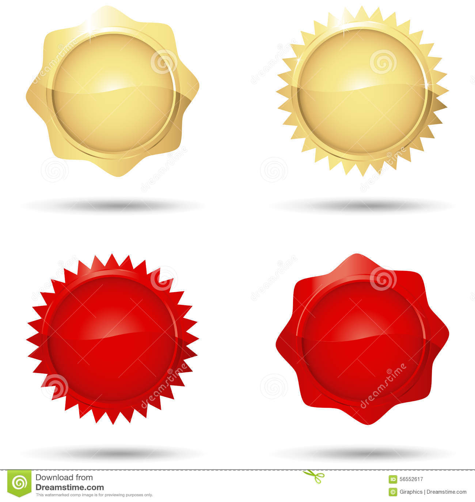 Download Στιλπνές κόκκινες και χρυσές σφραγίδες Διανυσματική απεικόνιση - εικονογραφία από αντίγραφο, απονεμημένη: 56552617