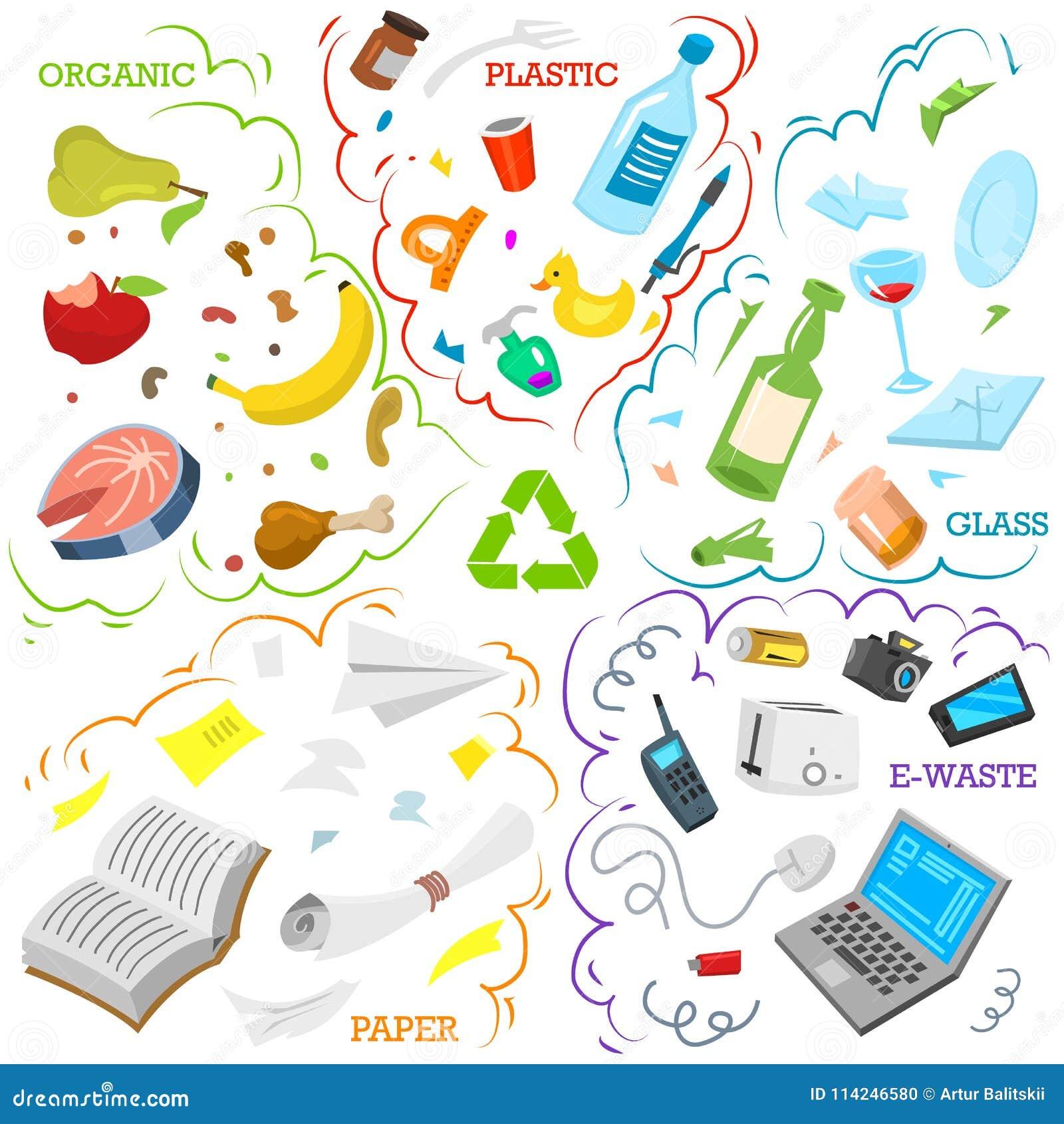 Στοιχεία απορριμάτων ανακύκλωσης Ταξινομώντας και χρησιμοποιήστε τα απόβλητα τροφίμων, μέταλλο, έγγραφο, πλαστικό, μπαταρία, γυαλ
