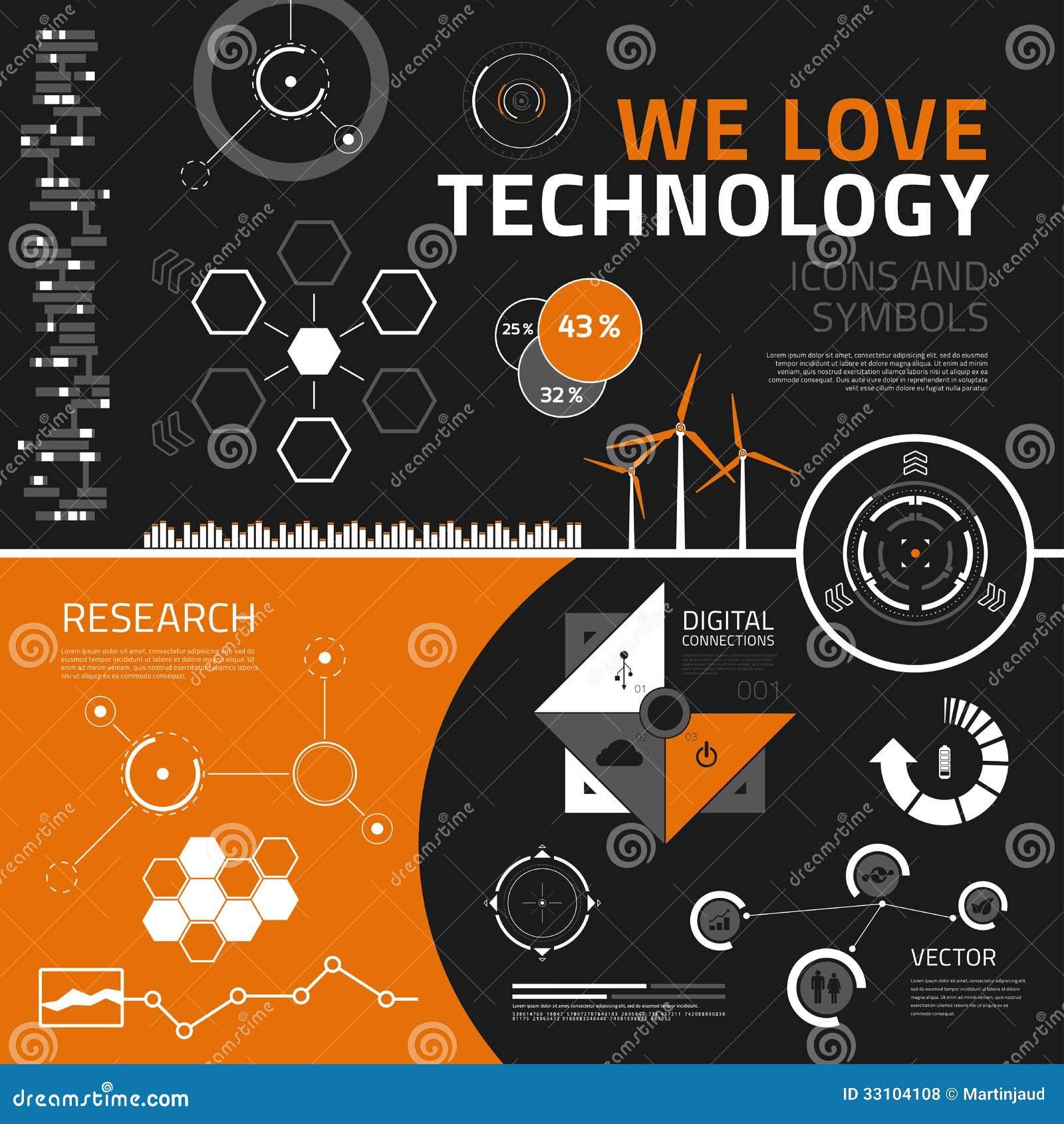 Στοιχεία, εικονίδια και σύμβολα infographics τεχνολογίας