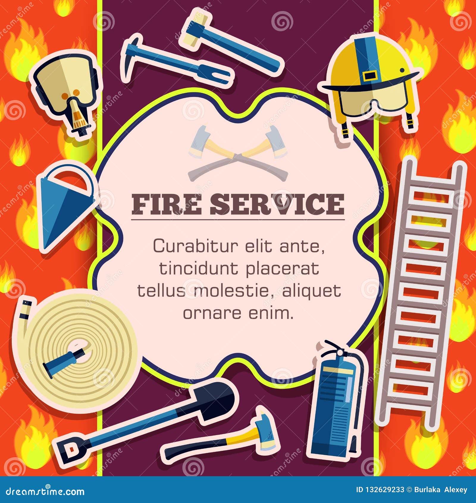 Στοιχεία εξοπλισμού πυροσβεστών στην κόκκινη αφίσα υποβάθρου πυρκαγιάς στο σχέδιο ύφους αυτοκόλλητων ετικεττών Διανυσματική κάρτα