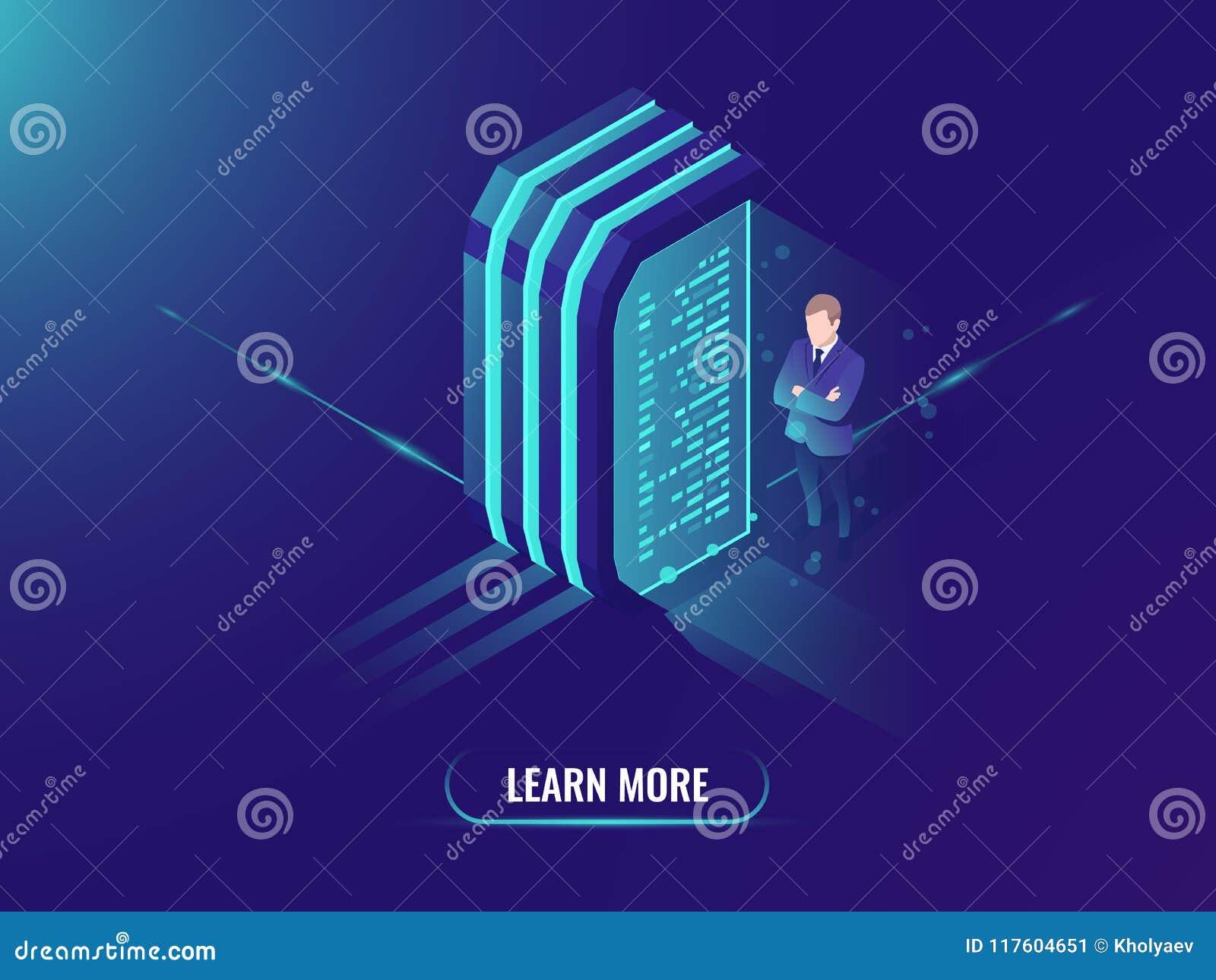 Στοιχεία - επεξεργασία και διαχείριση πληροφοριών, isometric διάνυσμα έννοιας επιστήμης στοιχείων, δωμάτιο κεντρικών υπολογιστών,