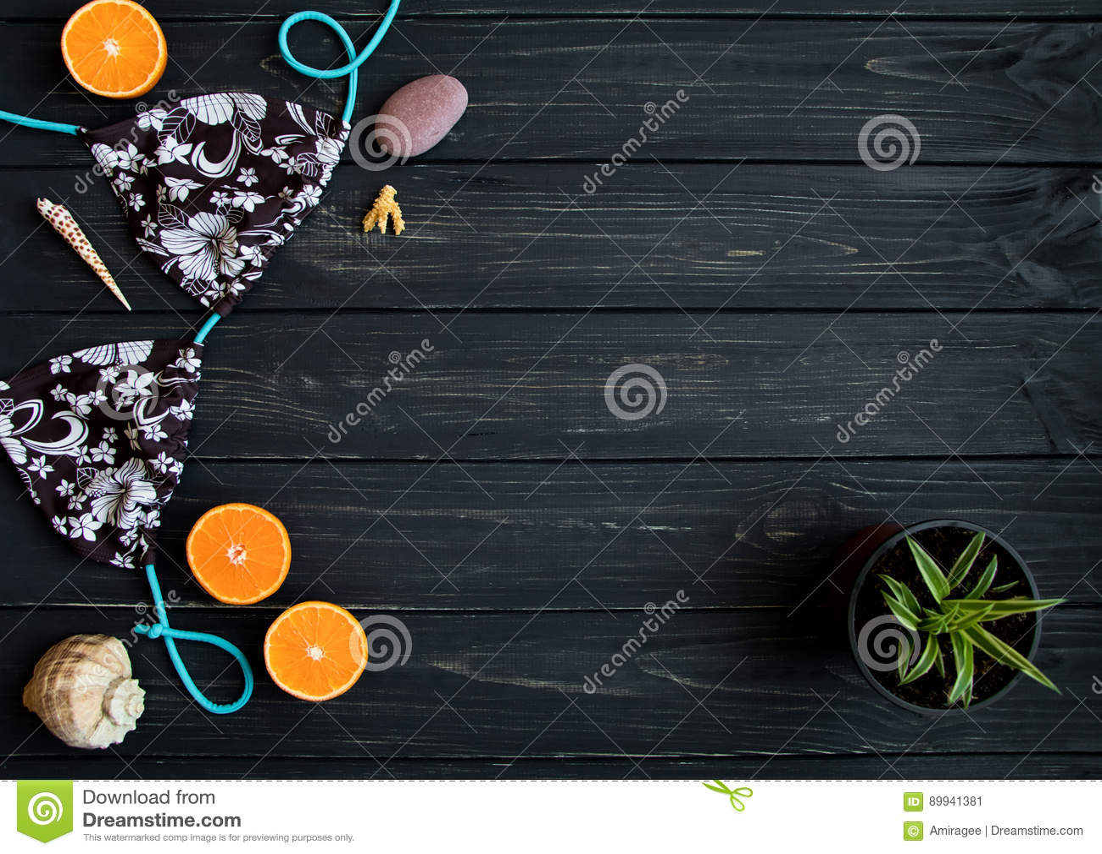 Στοιχεία διακοπών: μαγιό, πέτρες, θαλασσινά κοχύλια, φρούτα Η φωτογραφία ταξιδιού, επίπεδη βάζει, τοπ άποψη