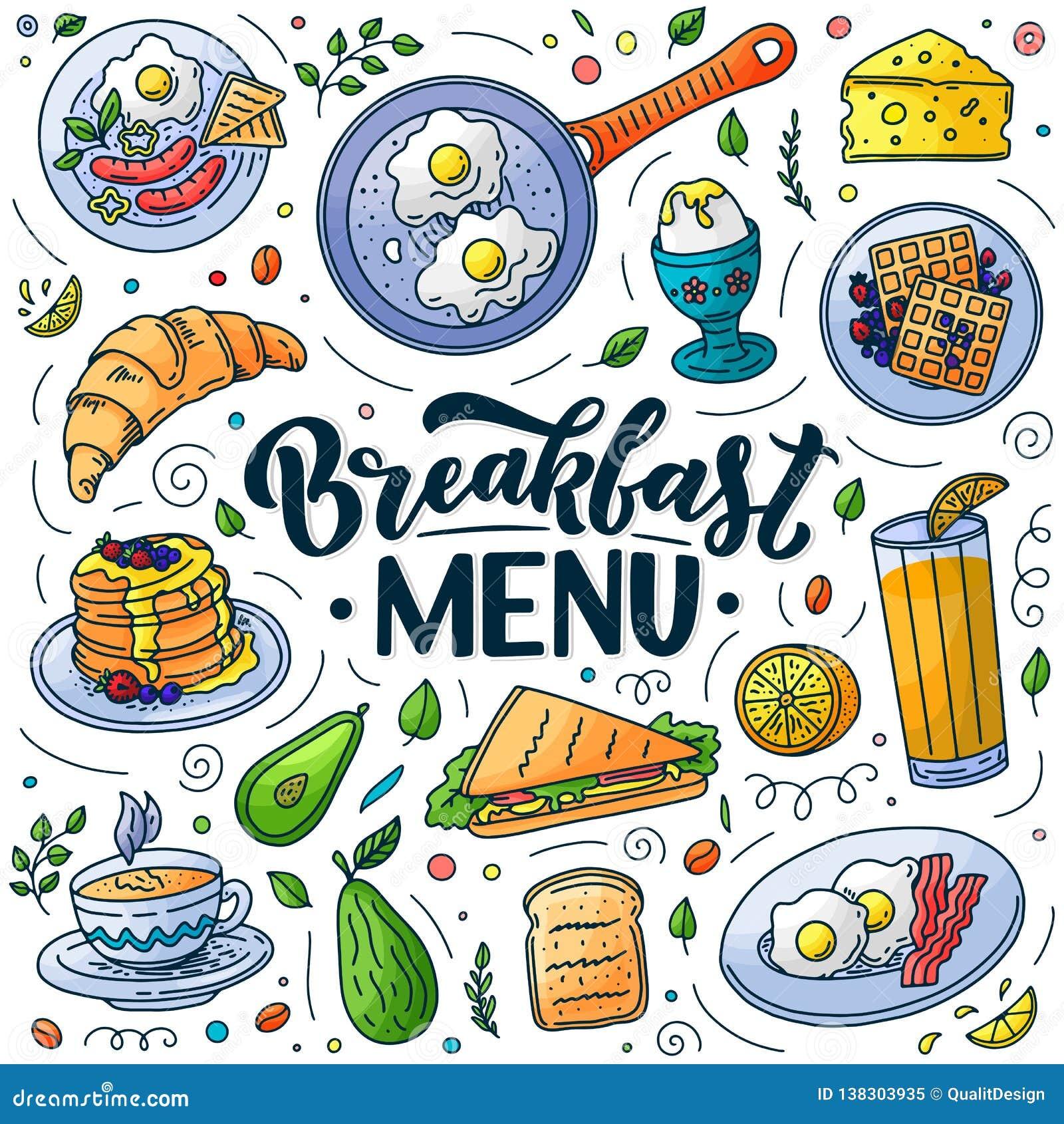 Στοιχεία σχεδίου επιλογών προγευμάτων Διανυσματική απεικόνιση doodle Εγγραφή καλλιγραφίας και παραδοσιακό γεύμα προγευμάτων