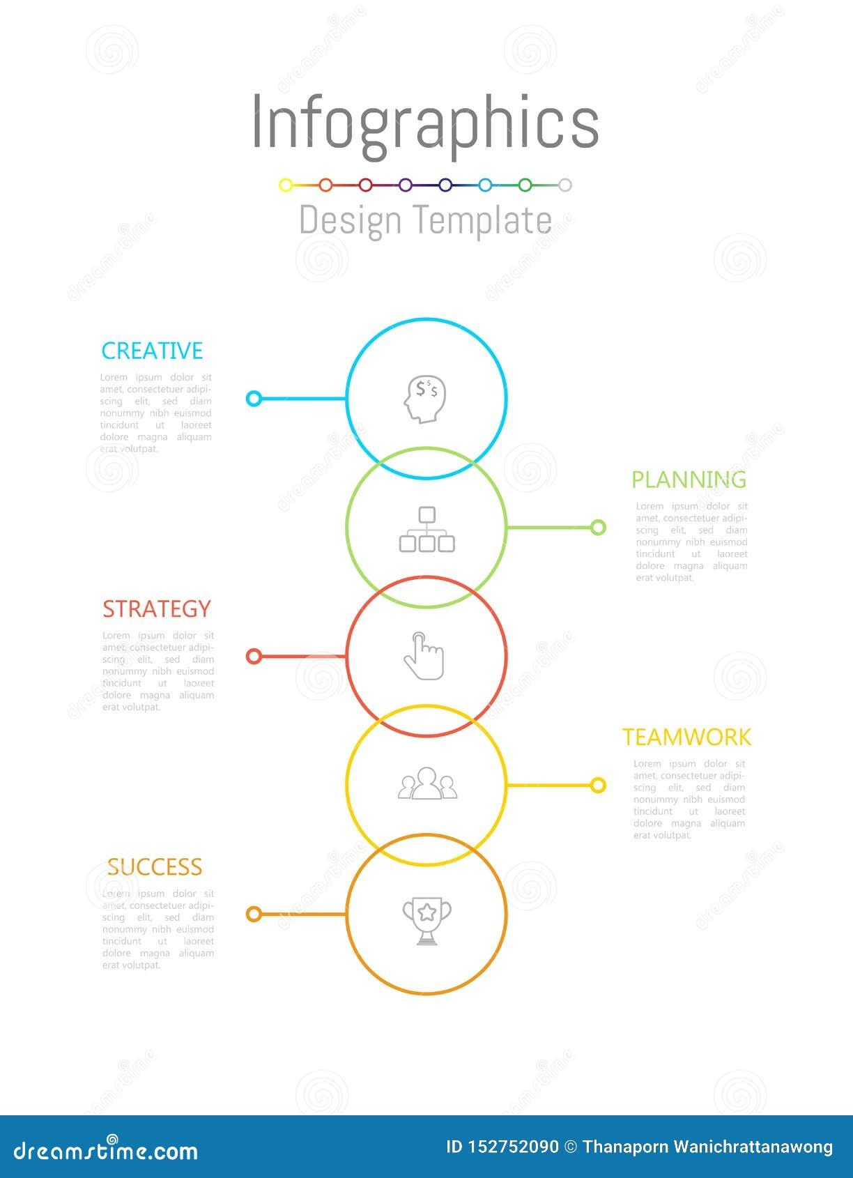 Στοιχεία σχεδίου Infographic για τα επιχειρησιακά στοιχεία σας με τις 5 επιλογές, τα μέρη, τα βήματα, υποδείξεις ως προς το χρόνο