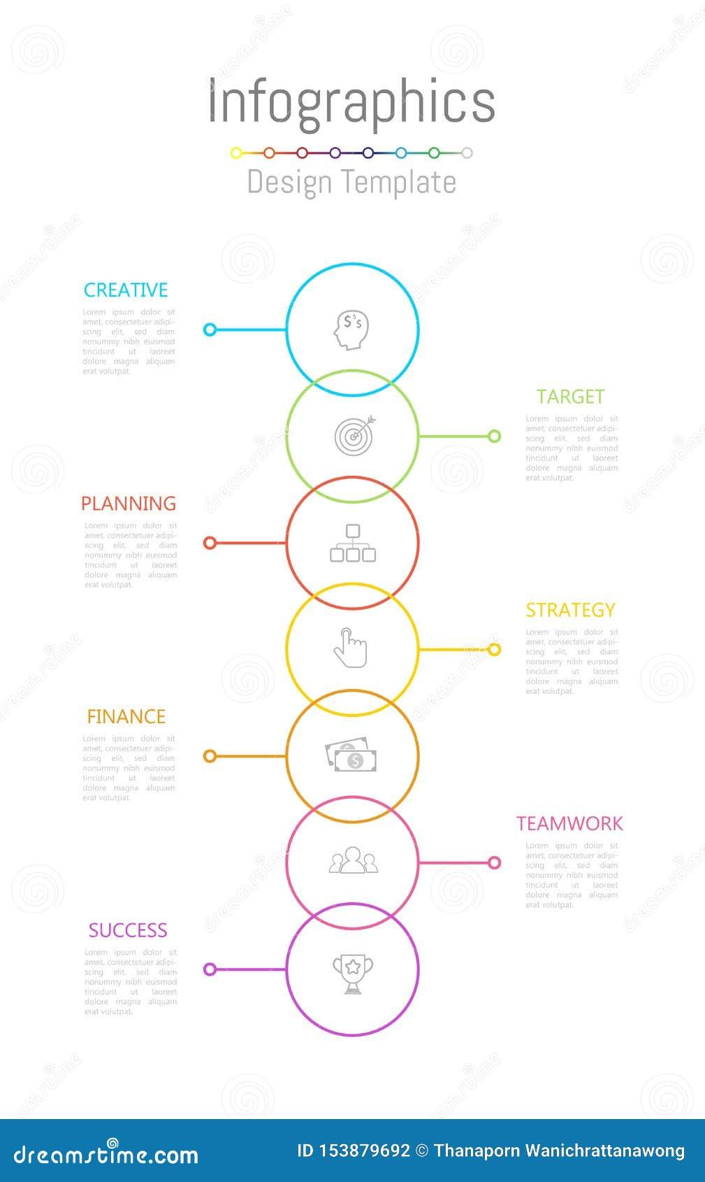 Στοιχεία σχεδίου Infographic για τα επιχειρησιακά στοιχεία σας με τις 7 επιλογές, τα μέρη, τα βήματα, υποδείξεις ως προς το χρόνο