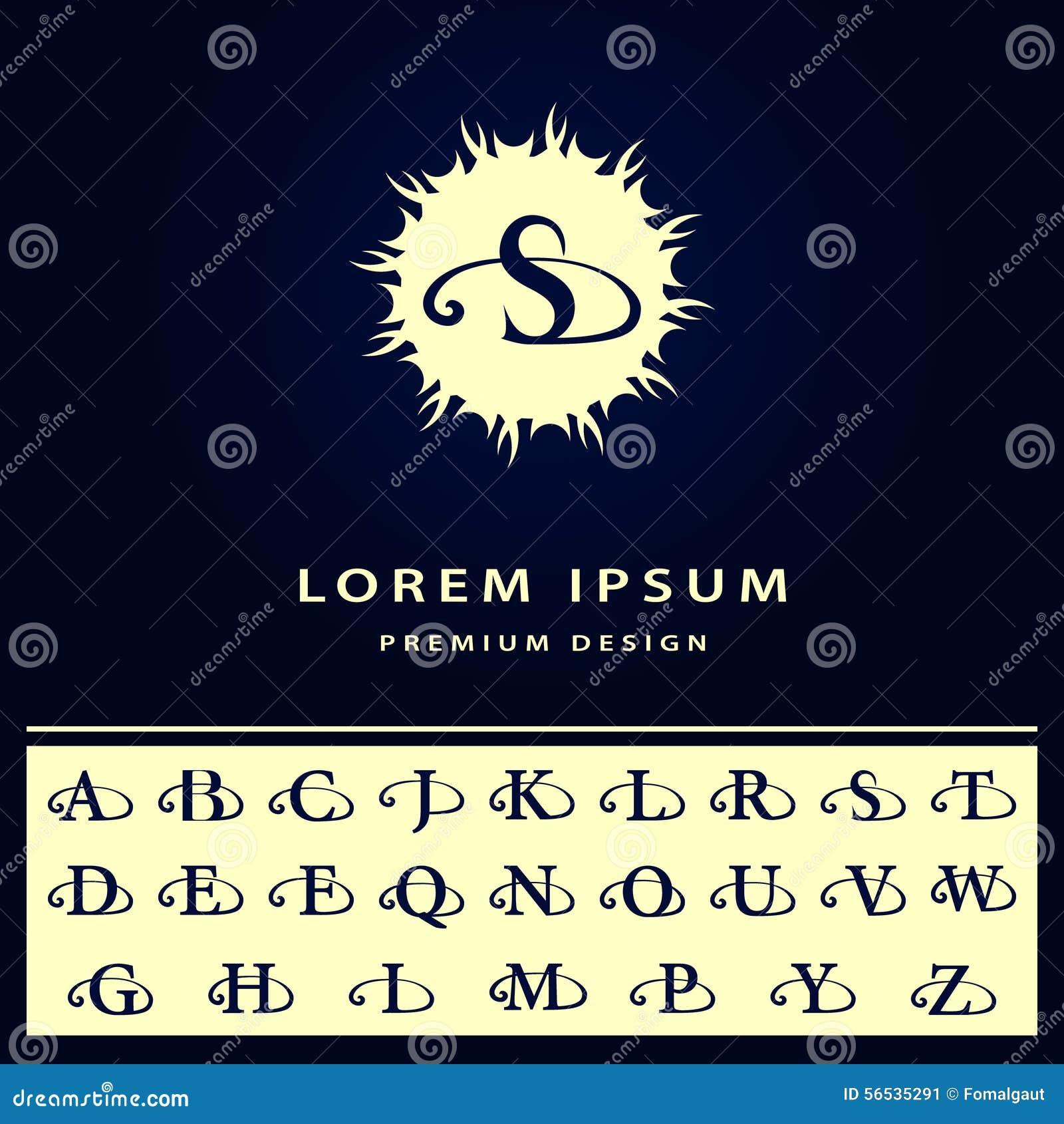 Στοιχεία σχεδίου μονογραμμάτων, αγγλικές επιστολές Καλλιγραφικό κομψό σχέδιο λογότυπων τέχνης γραμμών Αναδρομικό εκλεκτής ποιότητ