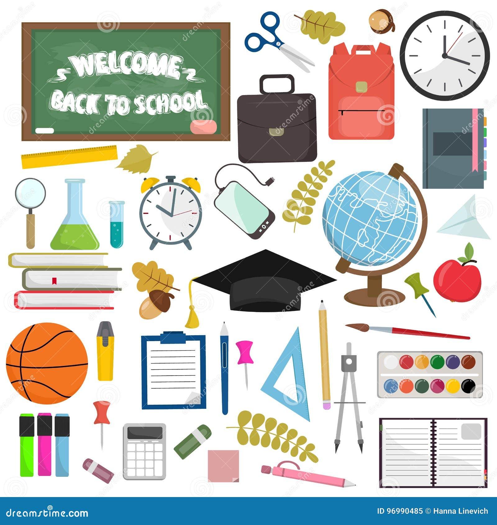 Στοιχεία σχολείου και εργασιακών χώρων εκπαίδευσης Διανυσματική επίπεδη απεικόνιση των σχολικών προμηθειών