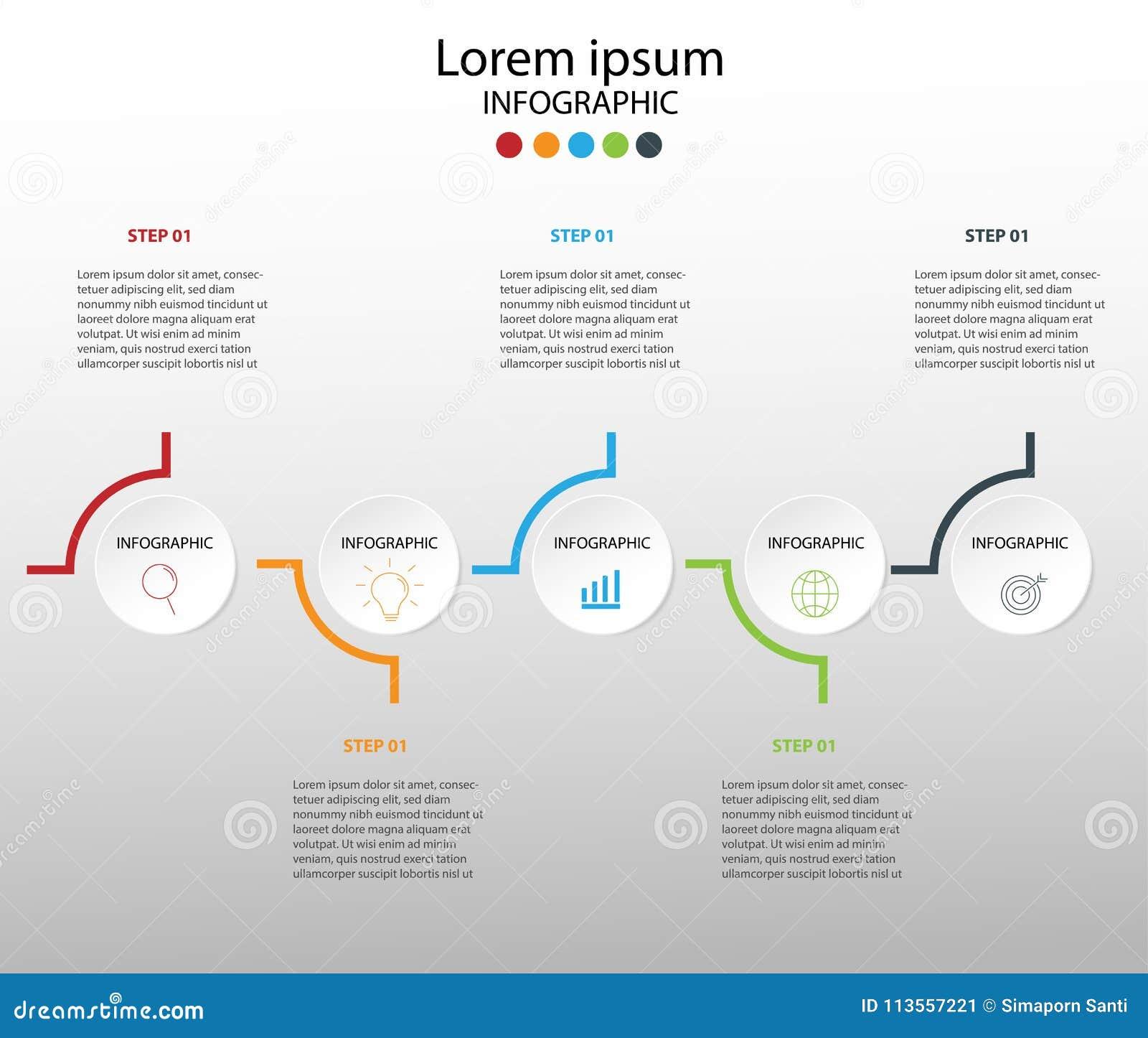 Στοιχεία σύγχρονου σχεδίου για το επιχειρησιακό πολύχρωμο infographics Vec