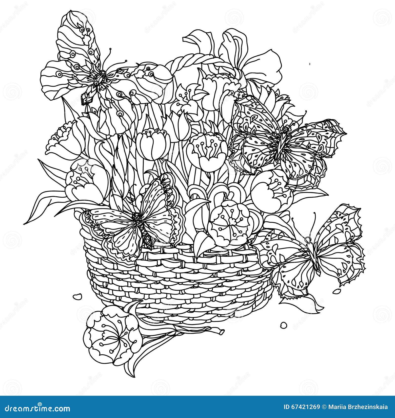Στοιχείο σχεδίων χεριών zentangle μαύρο λευκό Λουλούδι Mandala