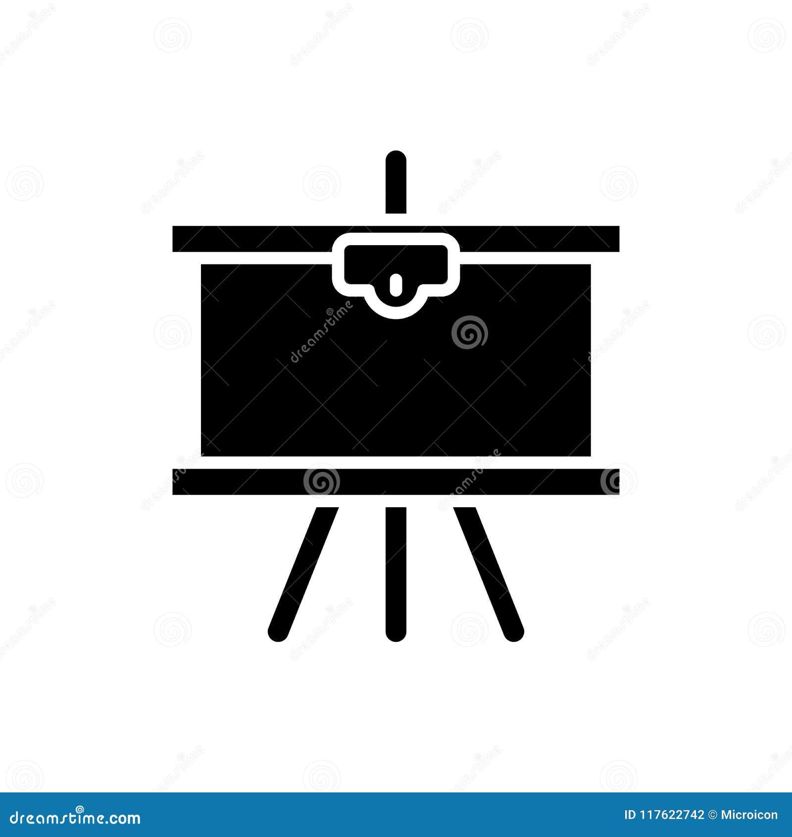 Στρέθιμο της προσοχής στη μαύρη έννοια εικονιδίων καμβά Επισύροντας την προσοχή στο επίπεδο διανυσματικό σύμβολο καμβά, σημάδι, α