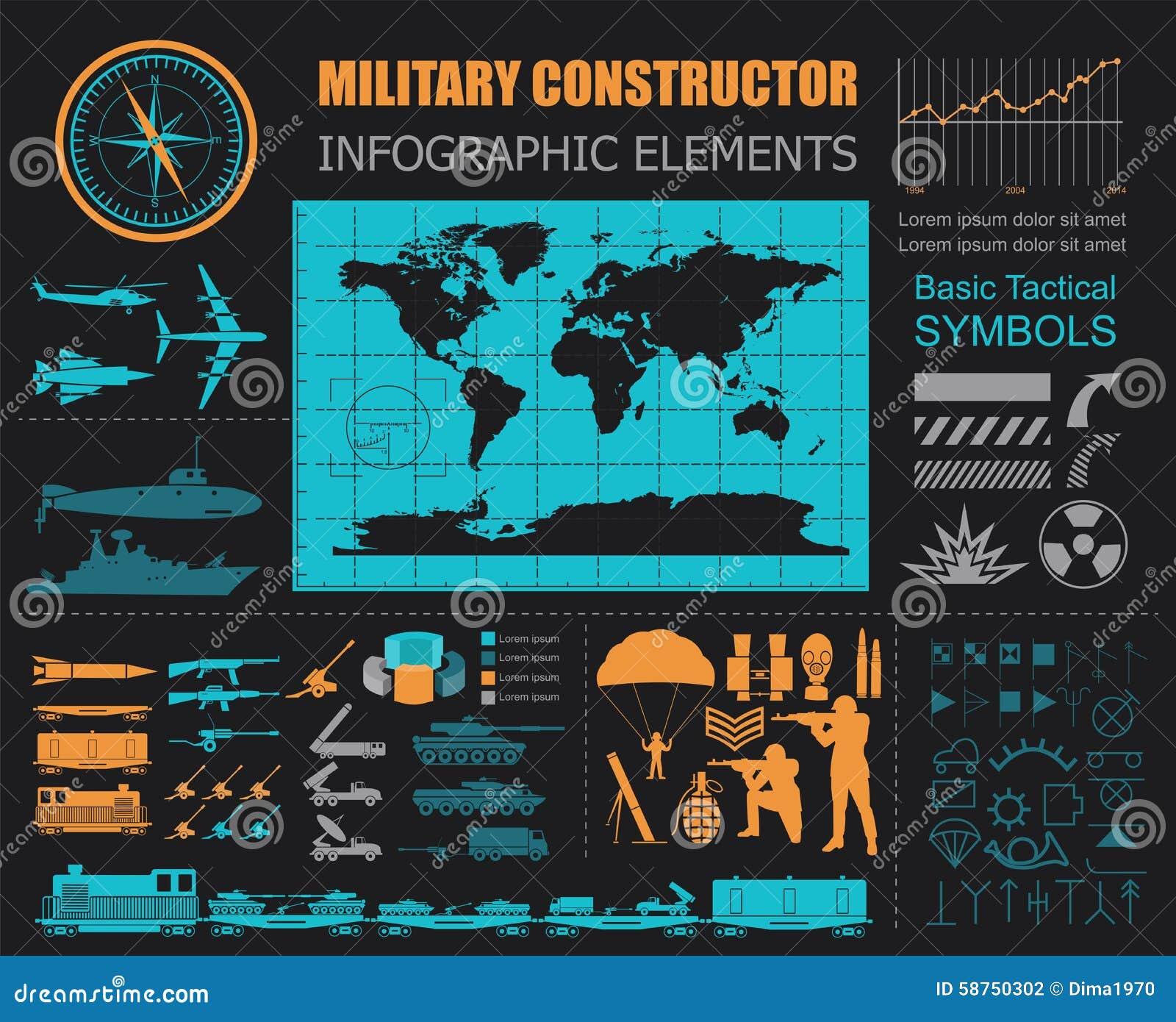 Στρατιωτικό infographic πρότυπο Διανυσματική απεικόνιση με την κορυφή powe
