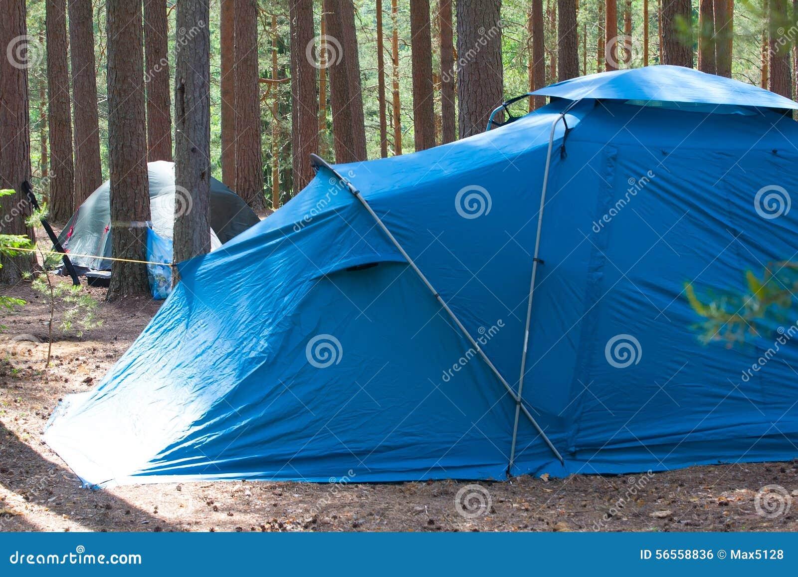 Download Στρατοπέδευση υπαίθρια με τη σκηνή στα ξύλα το καλοκαίρι Στοκ Εικόνες - εικόνα από φύση, αναψυχή: 56558836