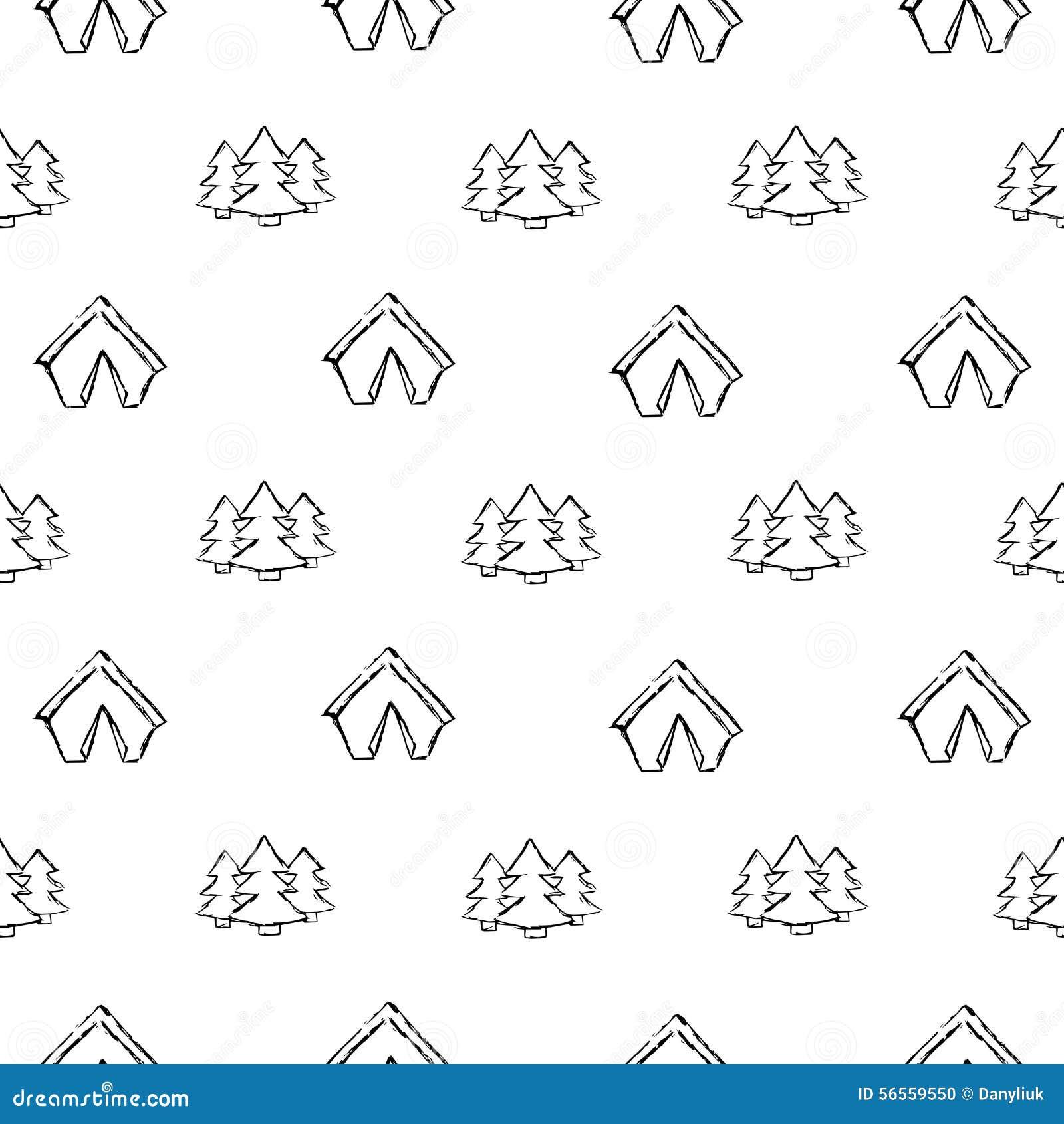 Download Στρατοπέδευση - Doodles συλλογή Συρμένο χέρι άνευ ραφής σχέδιο στρατοπέδευσης Απεικόνιση αποθεμάτων - εικονογραφία από ζούγκλα, καυσόξυλο: 56559550