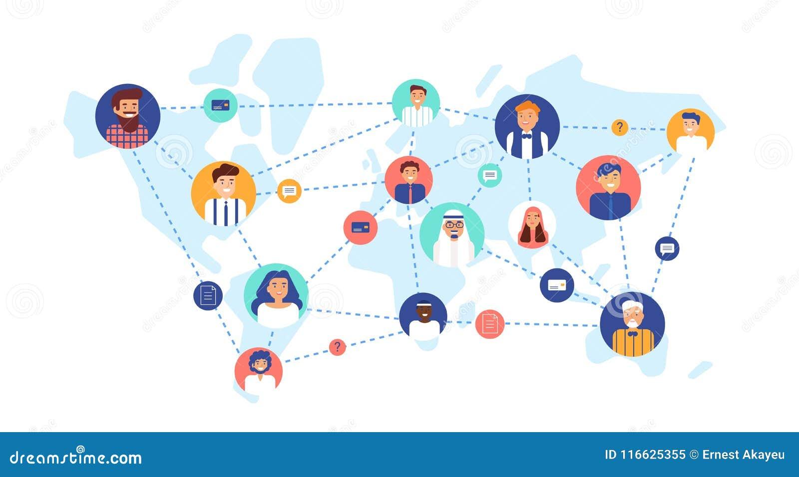 Στρογγυλά πορτρέτα των χαμογελώντας ανθρώπων που συνδέονται ο ένας με τον άλλον στον παγκόσμιο χάρτη Διεθνής επιχειρησιακή ομάδα,