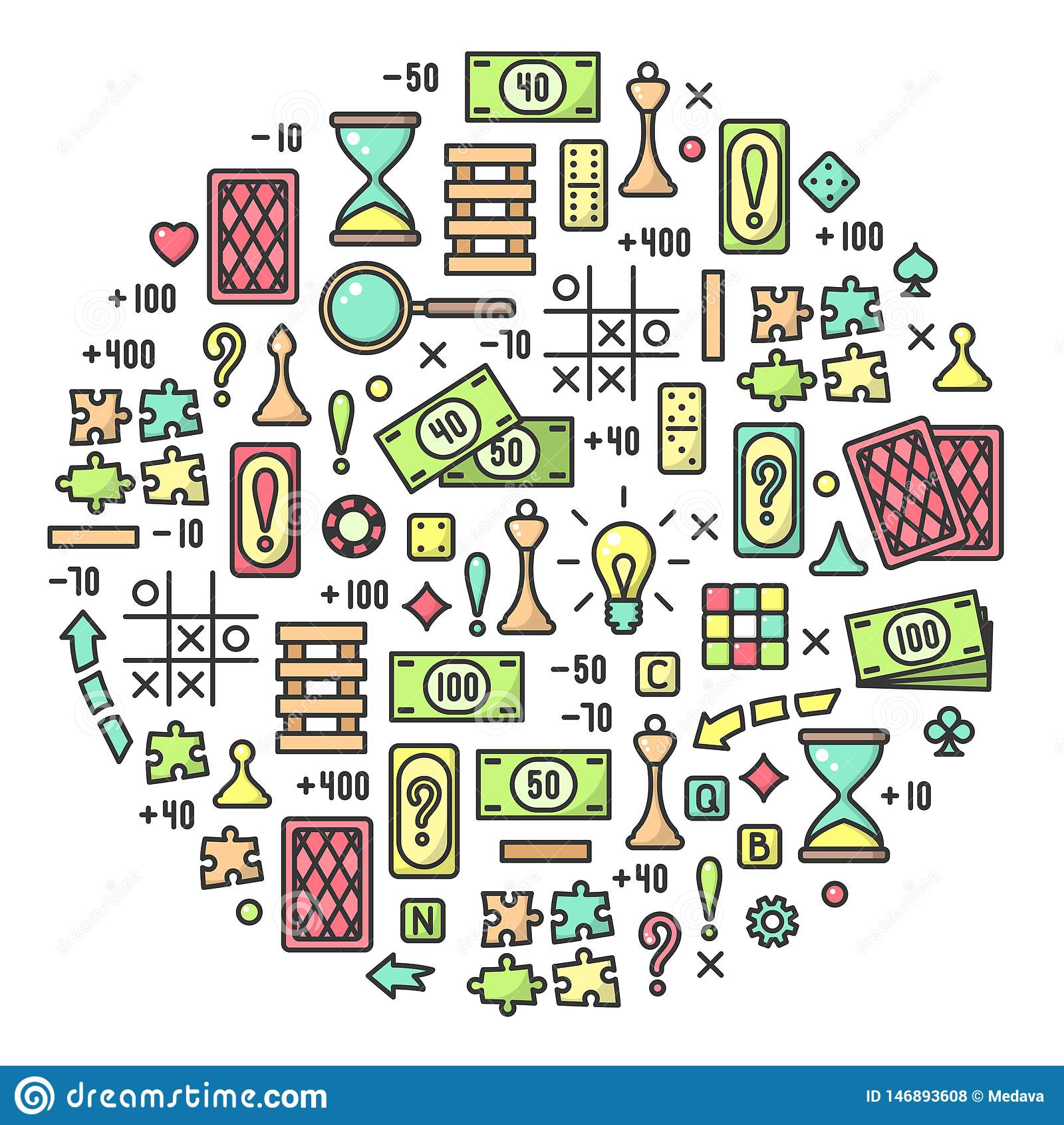 Στρογγυλή έννοια με τις πολύχρωμες ιδιότητες επιτραπέζιων παιχνιδιών