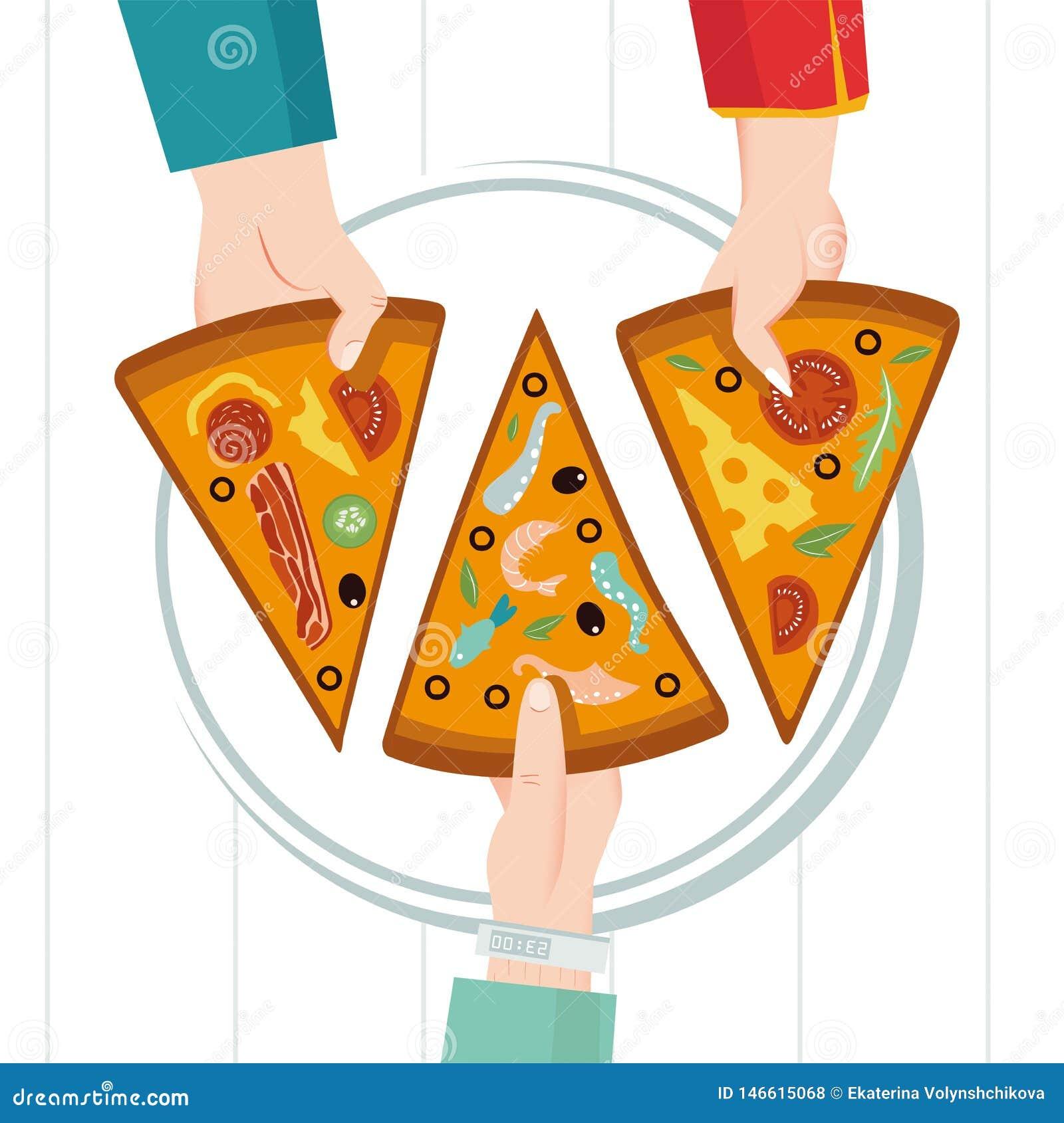 Στρογγυλή μεγάλη πίτσα, τρίγωνο φετών, ιταλικές επιλογές εστιατορίων Οικογενειακό κόμμα Γεύμα με τους φίλους Ο καθένας παίρνει έν