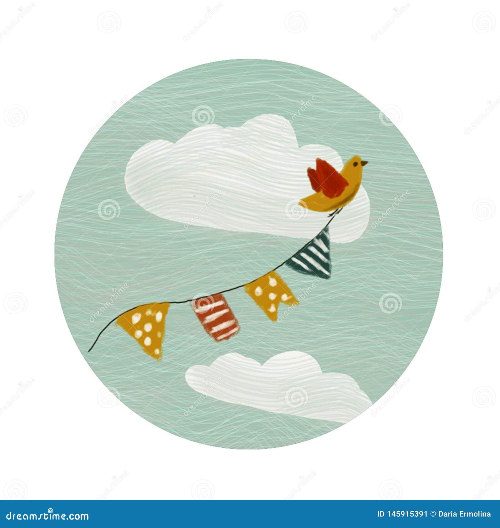 Στρογγυλό λογότυπο χρώματος με το πουλί