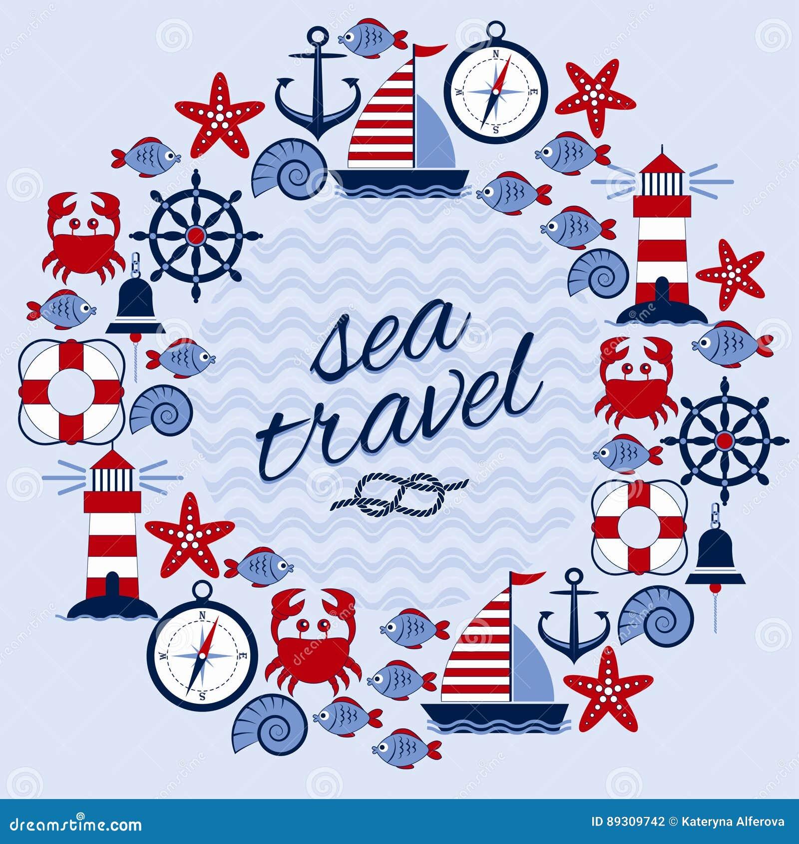 1099d88665 Download Στρογγυλό πλαίσιο με το θαλάσσιο θέμα κόκκινο ταξίδι θάλασσας  σχοινιών κινηματογραφήσεων σε πρώτο πλάνο Άγκυρα