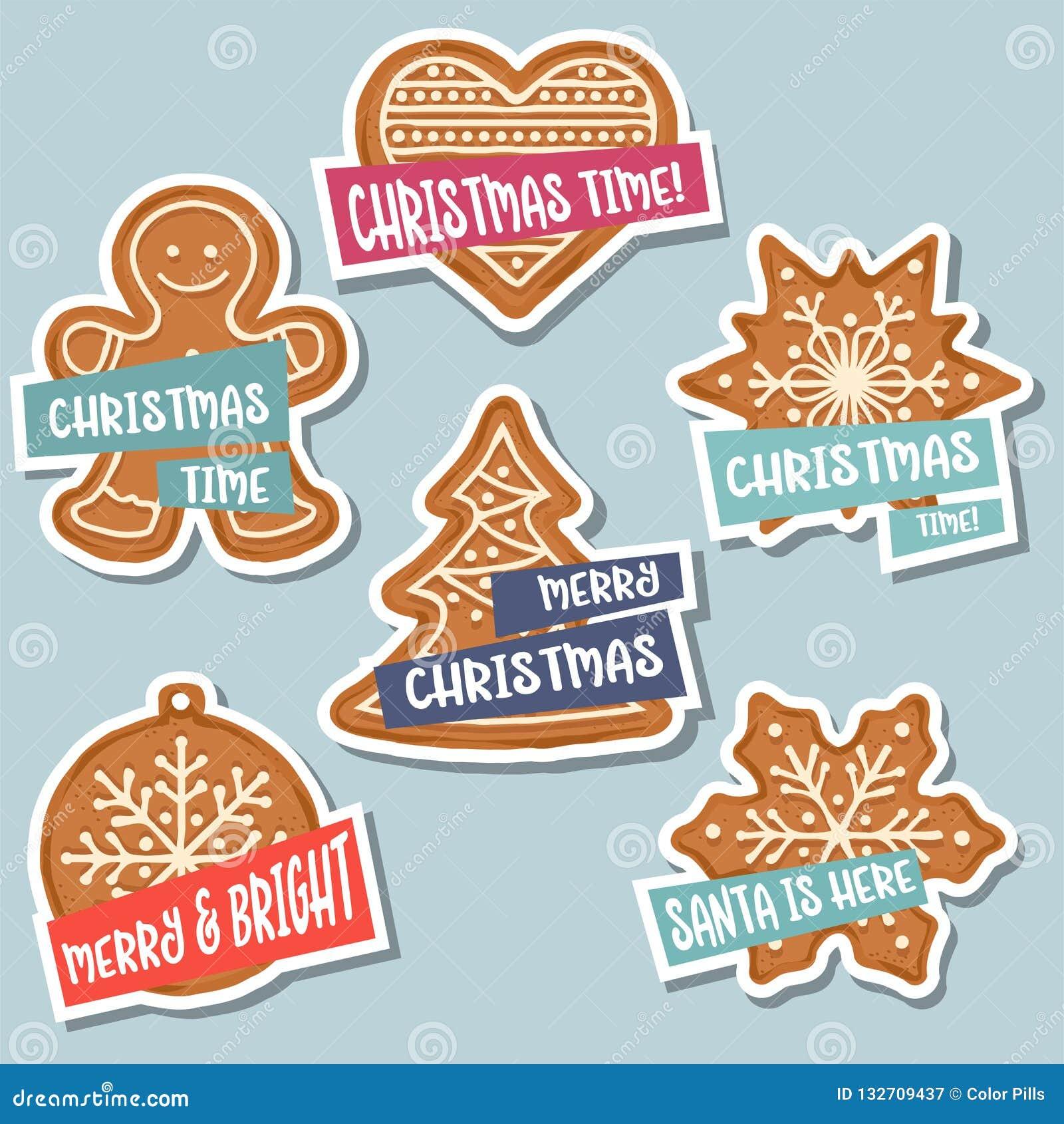 Συλλογή αυτοκόλλητων ετικεττών Χριστουγέννων με το μελόψωμο Χριστουγέννων και wis