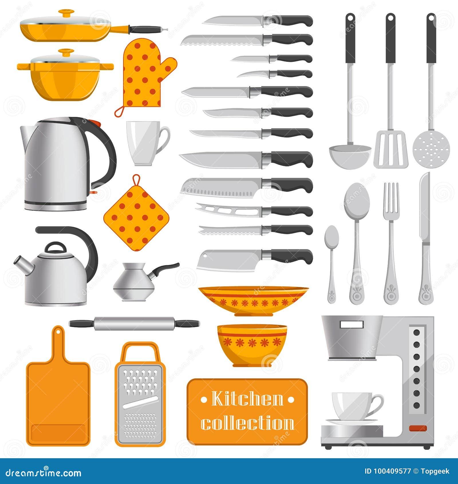 Συλλογή κουζινών του επιτραπέζιου σκεύους και των συσκευών