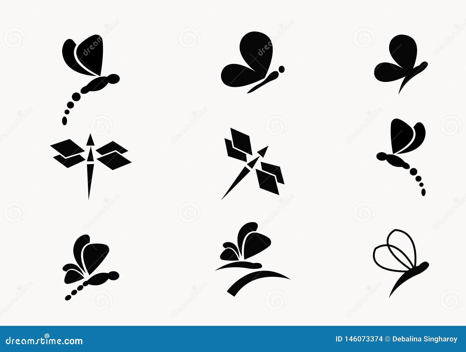 συλλογή 6 του μαύρου διανύσματος πεταλούδων και λιβελλουλών