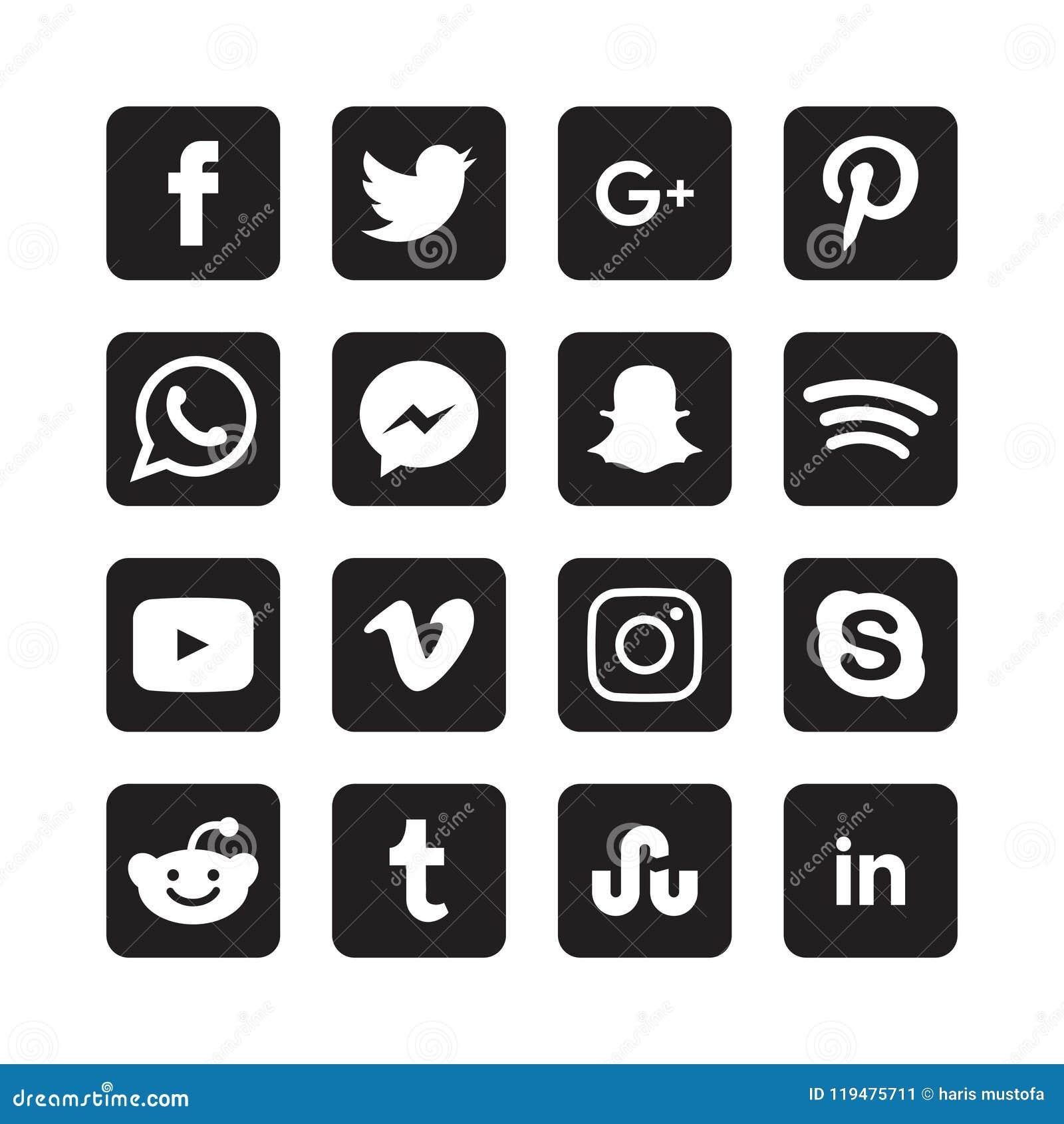 Συλλογή των κοινωνικών εικονιδίων μέσων