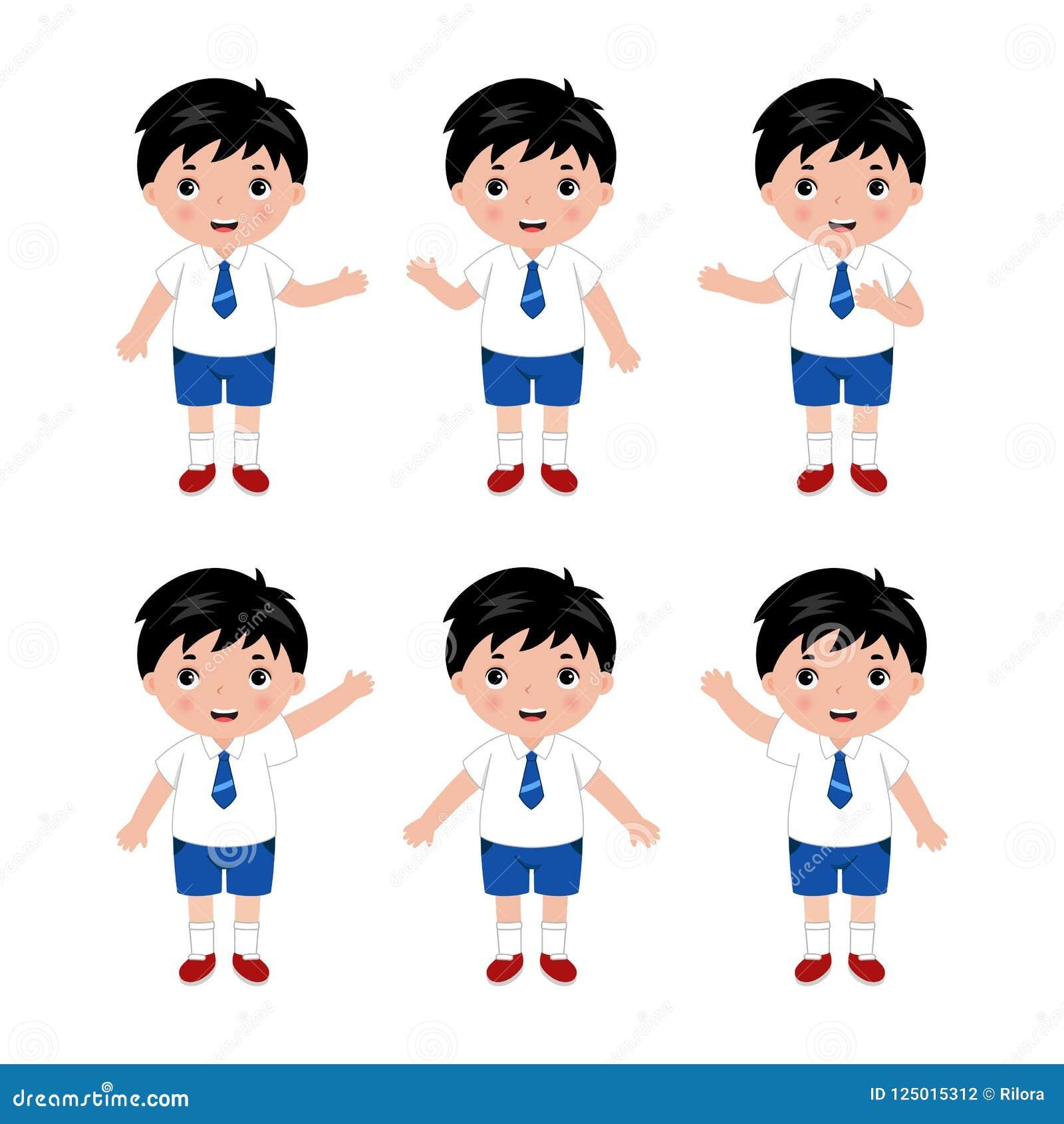 Συλλογή των μικρών παιδιών στη σχολική στολή διάνυσμα