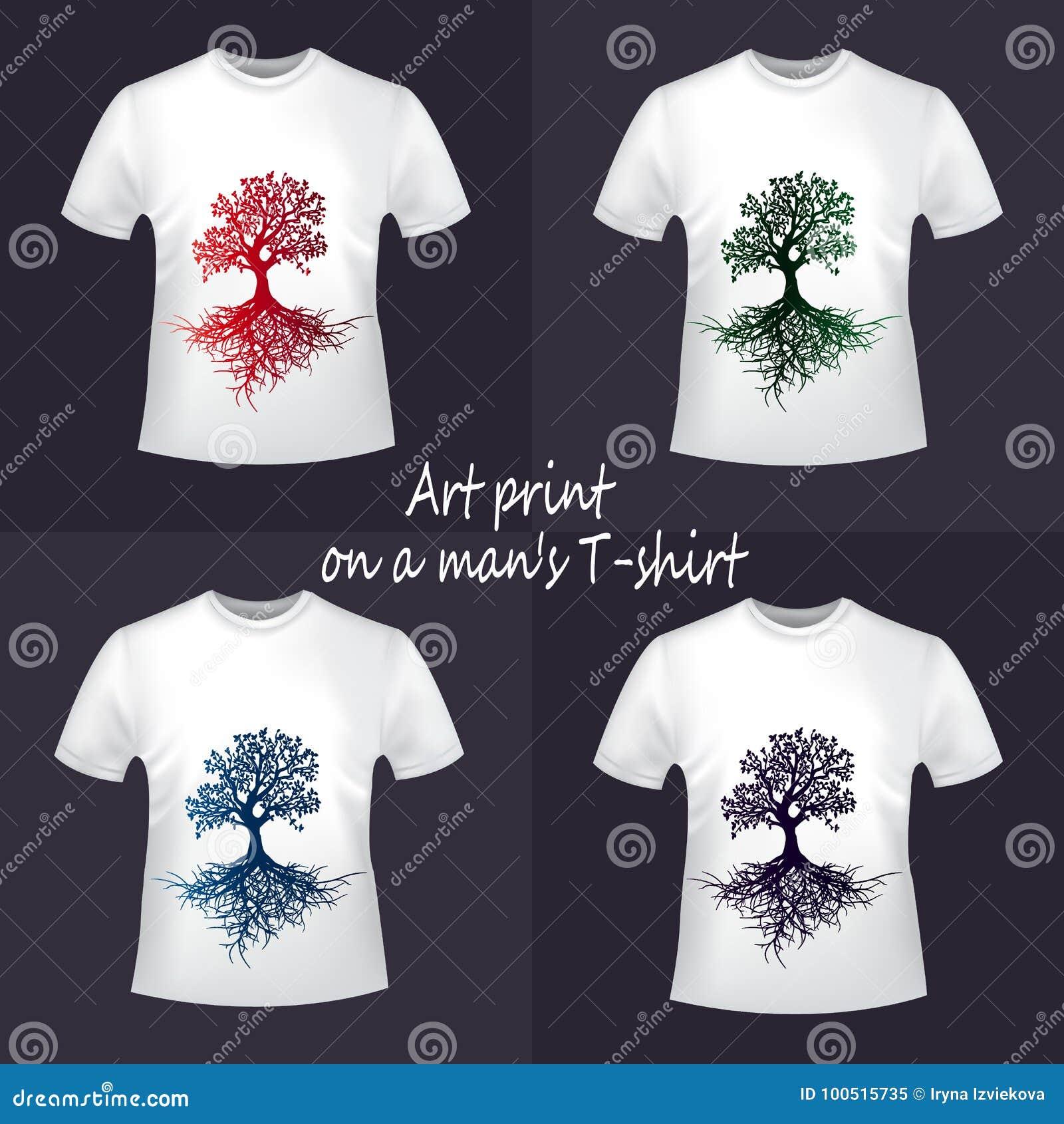 f68011d0ed30 Τέσσερις μπλούζες με μια δημιουργική τυπωμένη ύλη κλίσης Μια όμορφη ιδέα  για την εκτύπωση Αστικό ύφος νεολαίας