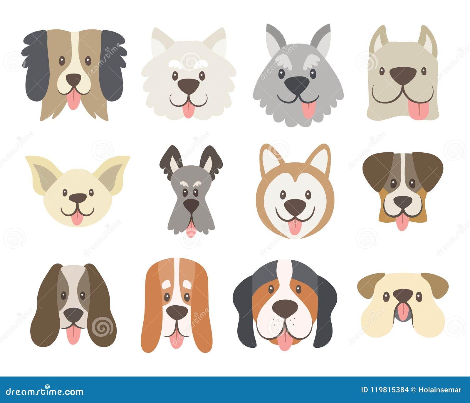 Συλλογή των χαριτωμένων προσώπων σκυλιών