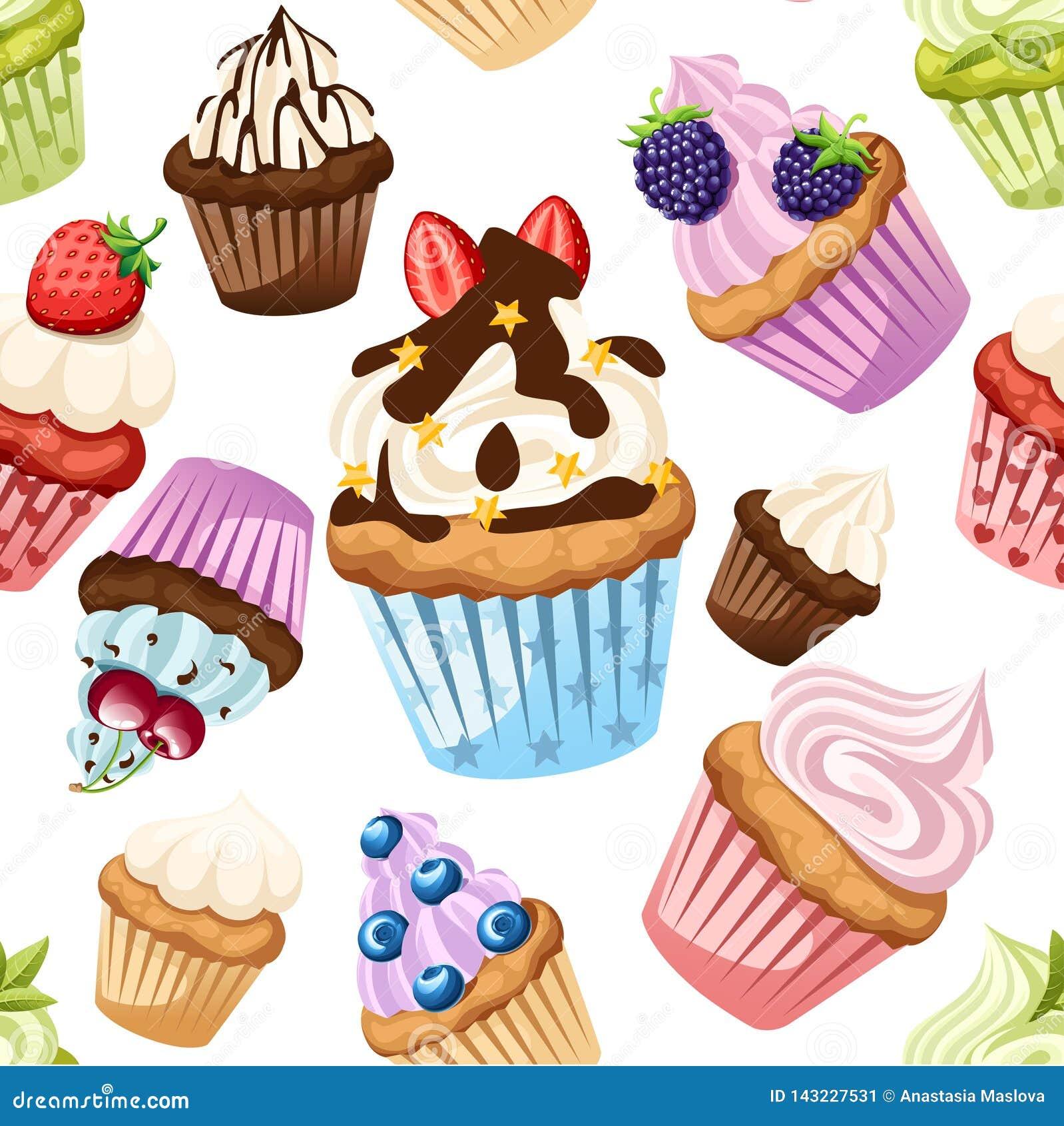 R Συλλογή των cupcakes με τα διαφορετικά συστατικά Σύνολο γλυκών κέικ Ζωηρόχρωμο επιδόρπιο E