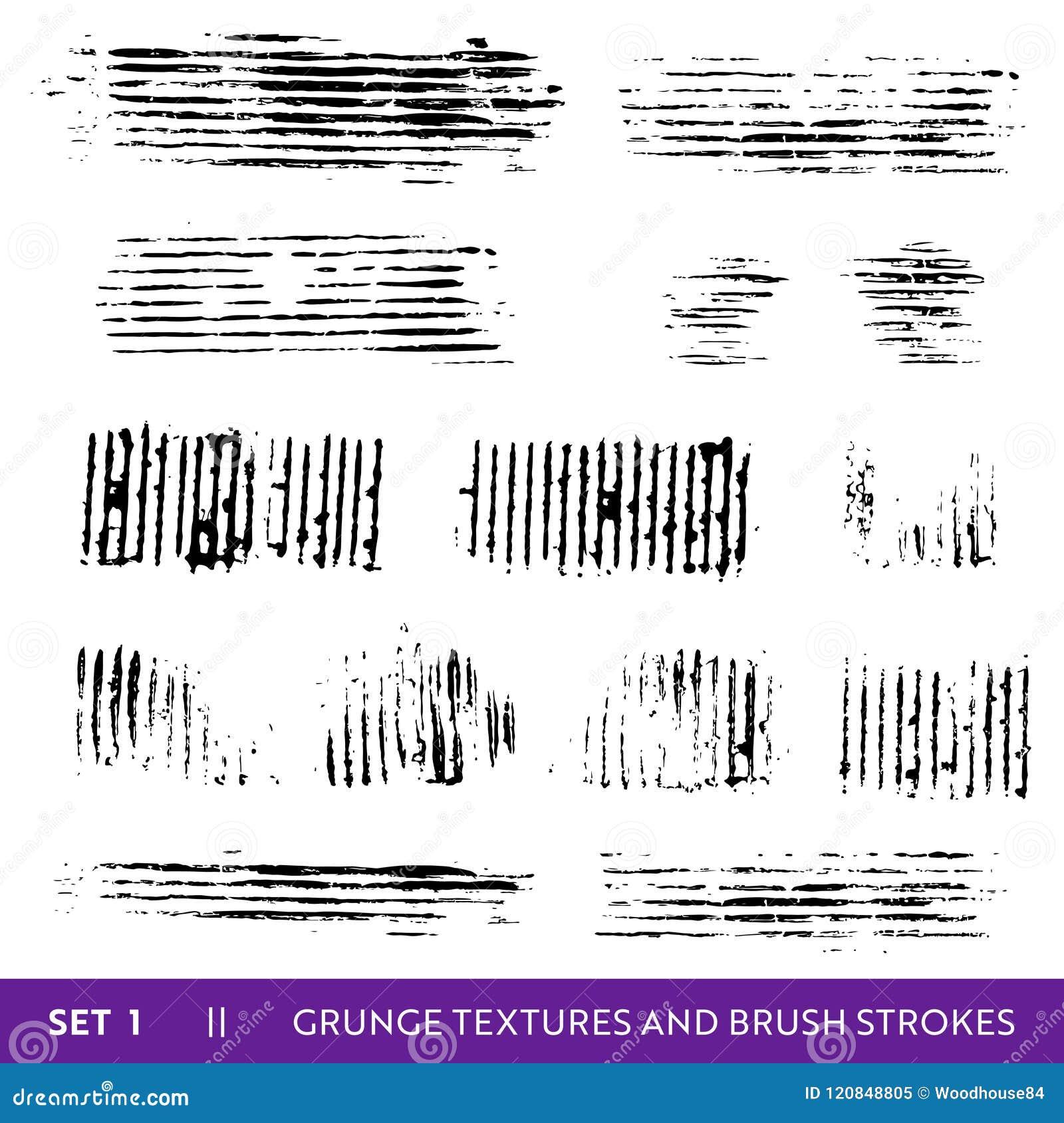 Συλλογή Grunge κτυπημάτων βουρτσών μελανιού Βρώμικα στοιχεία σχεδίου καθορισμένα Χρώμα Splatters, ελεύθερες βρώμικες γραμμές