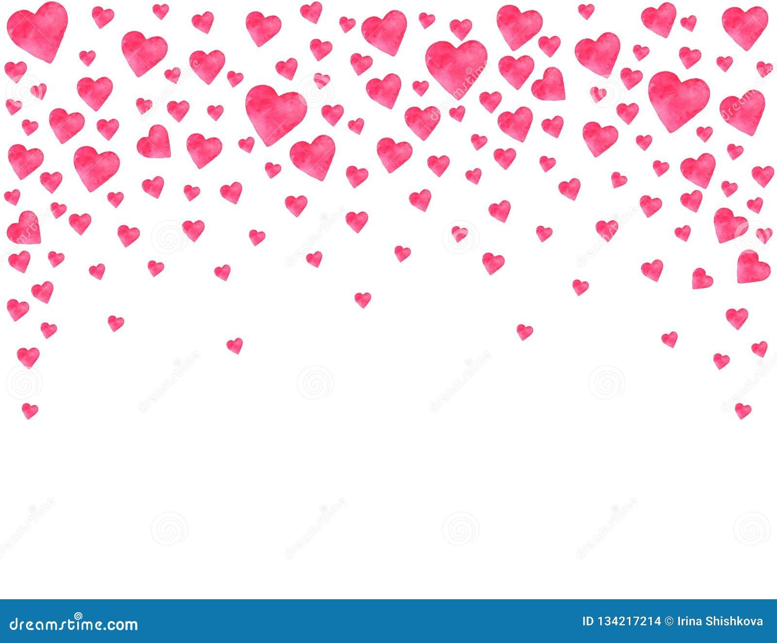 Συναισθήματα αγάπης εραστών διακοπών πρόσκλησης συγχαρητηρίων ημέρας Watercolor καρδιών ημέρας του βαλεντίνου καρτών