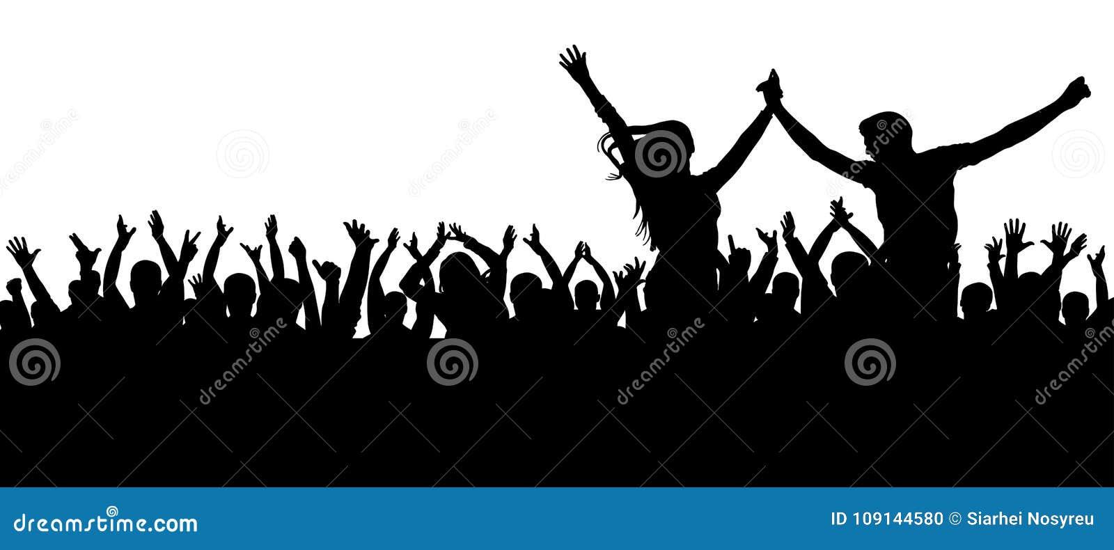 Συναυλία χορού ανεμιστήρων, disco Εύθυμη σκιαγραφία πλήθους Οι άνθρωποι κόμματος, επιδοκιμάζουν Νέο ζεύγος σε ένα κόμμα