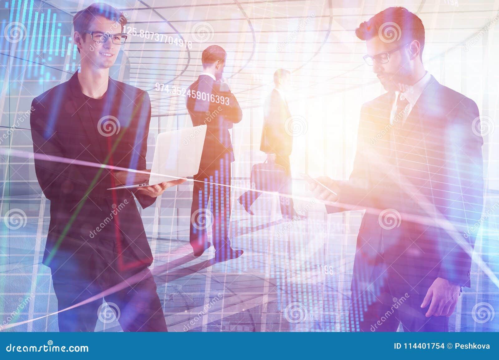 Συνεδρίαση, απόθεμα, εμπόριο, ομαδική εργασία και έννοια διεπαφών