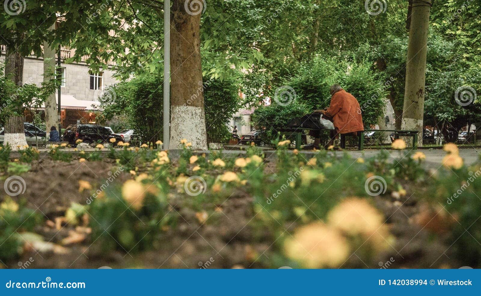 Συνεδρίαση ατόμων σε έναν πάγκο