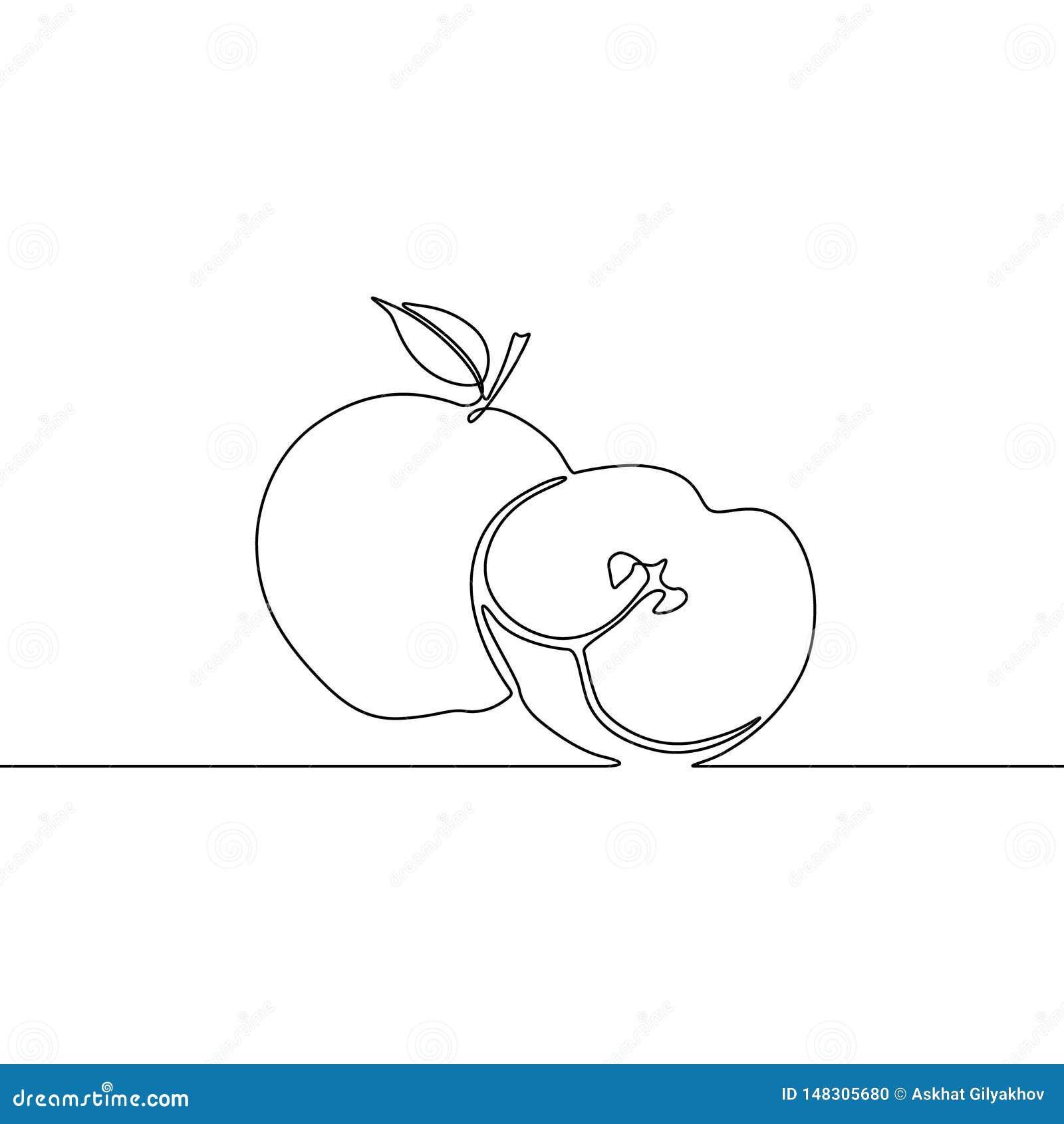 Συνεχές μήλο σχεδίων γραμμών με τη φέτα του μήλου r