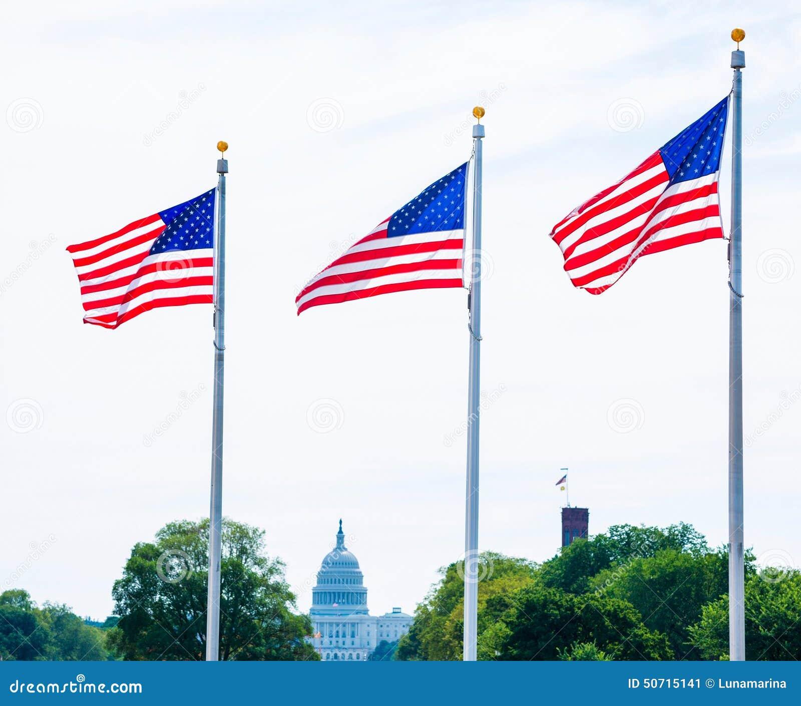Συνεχές ρεύμα ΗΠΑ σημαιών και Capitol μνημείων της Ουάσιγκτον
