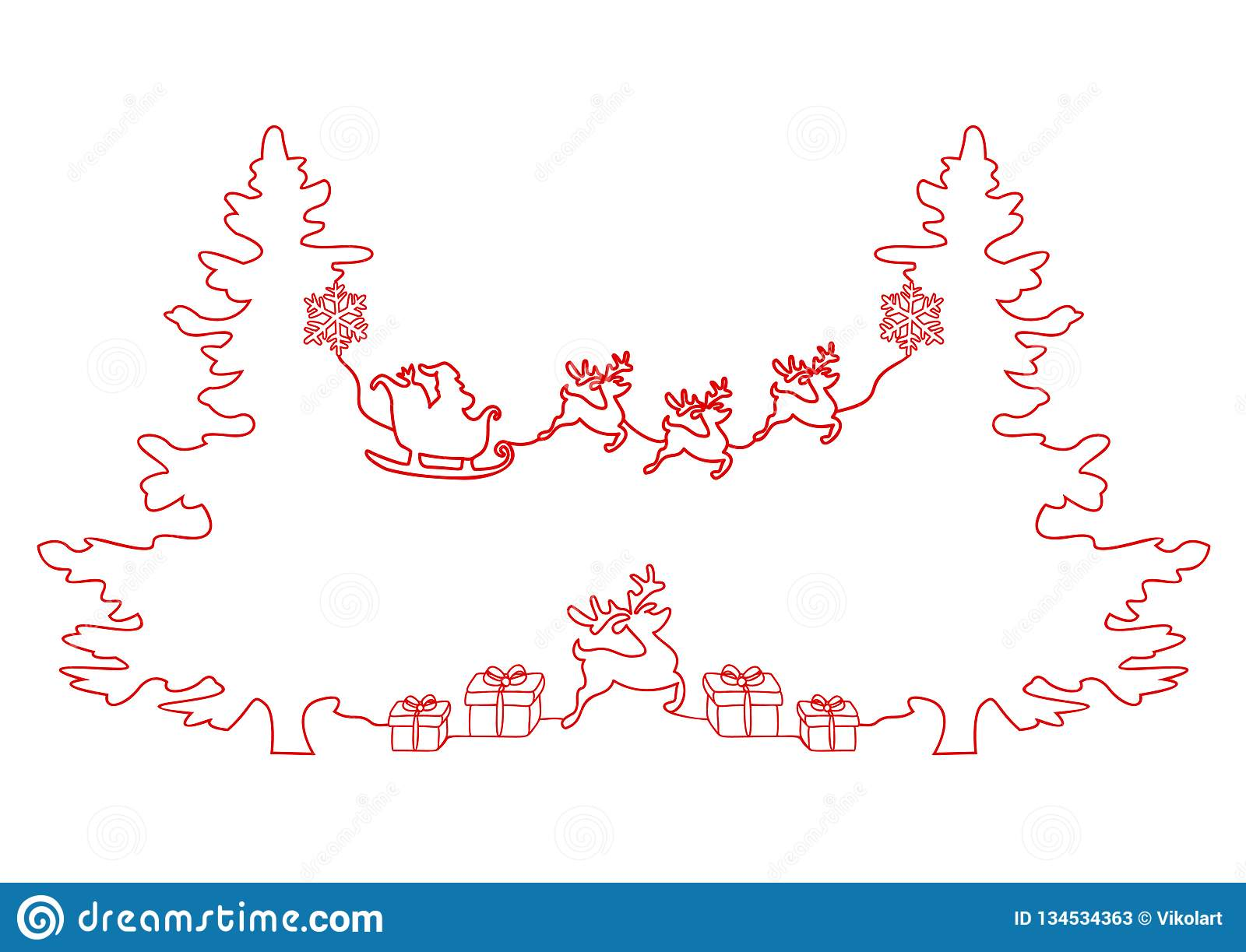 Συνεχές σχέδιο γραμμών διακοπών Χριστουγέννων, Άγιος Βασίλης σε ένα έλκηθρο, ελάφια, χριστουγεννιάτικο δέντρο, Snowflakes, δώρα