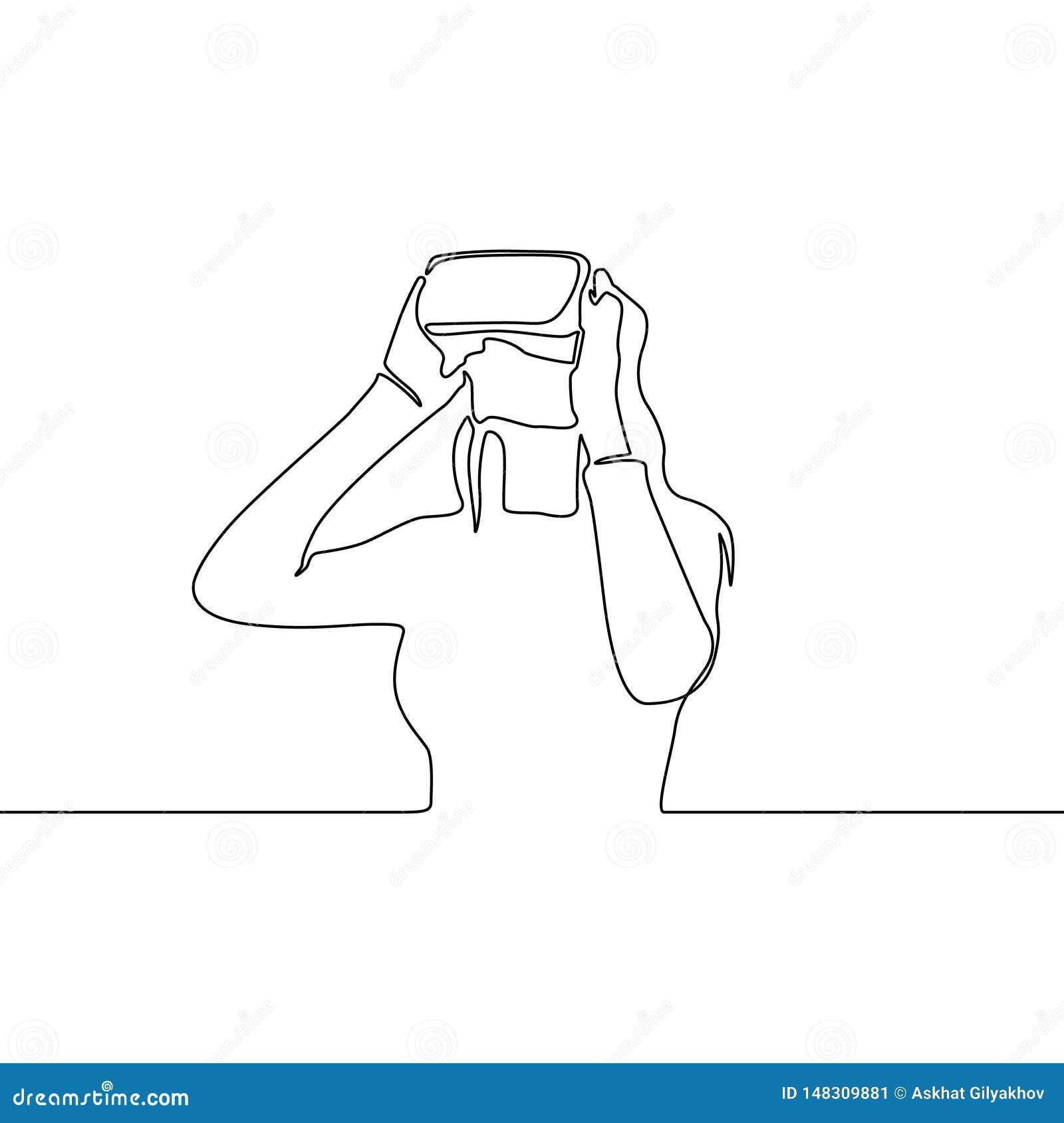 Συνεχής γυναίκα γραμμών στα γυαλιά VR r