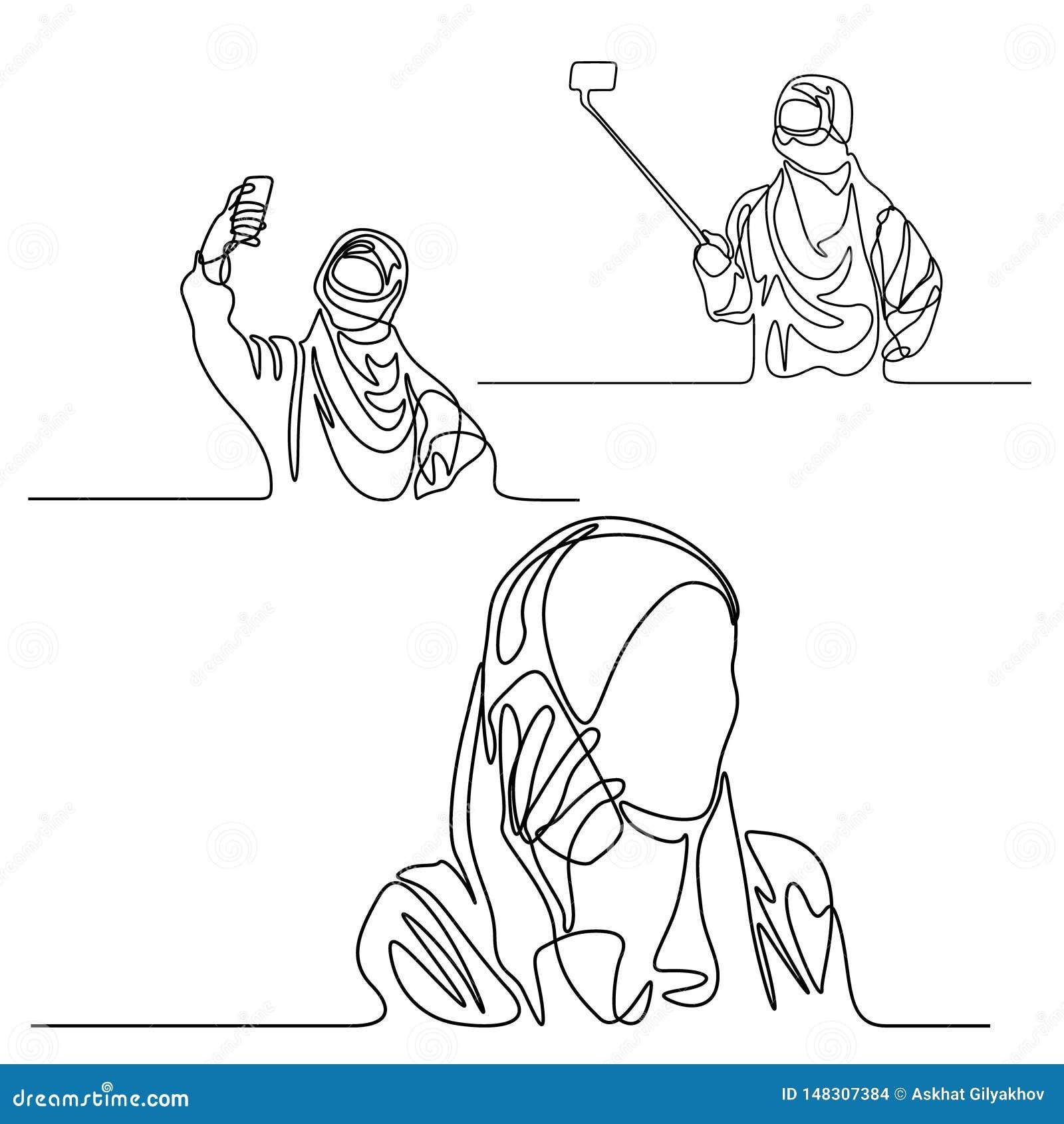 Συνεχής καθορισμένη μουσουλμανική γυναίκα γραμμών με το τηλέφωνο που κάνει selfie και που μιλά