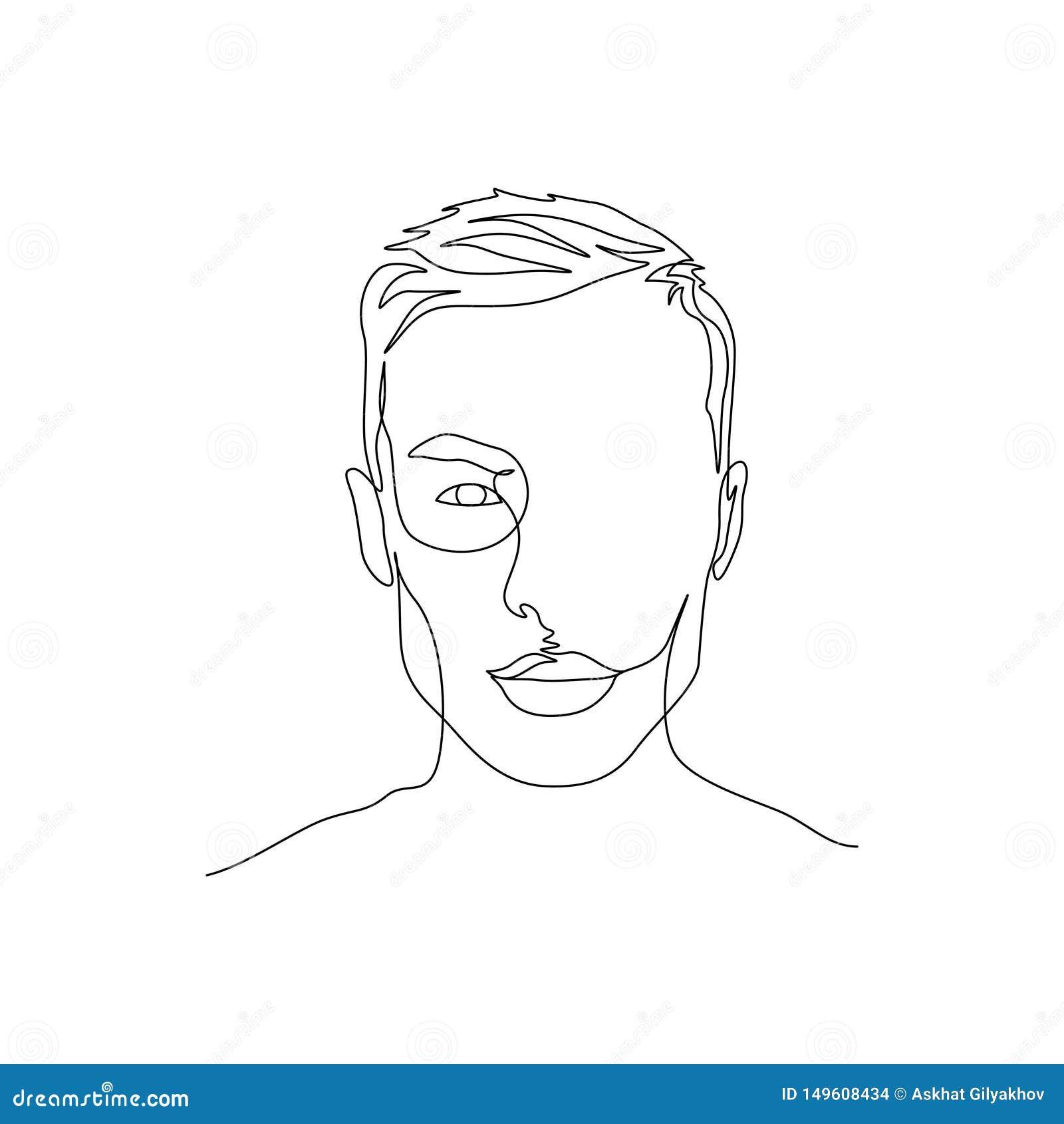 Συνεχής πορτρέτο γραμμών του ατόμου με το συμμετρικό όμορφο πρόσωπο r
