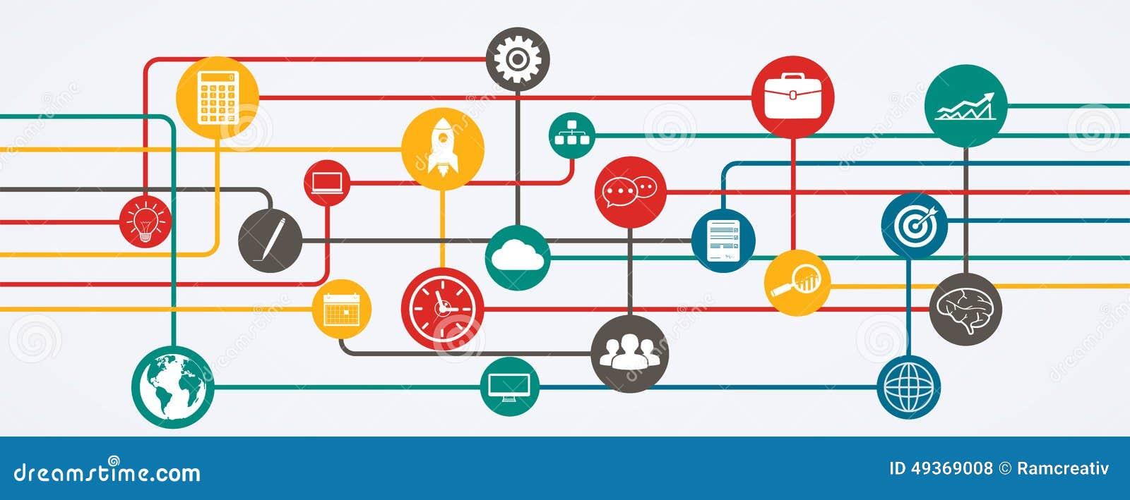Συνδέσεις δικτύων, ροή πληροφοριών με τα εικονίδια στην οριζόντια θέση