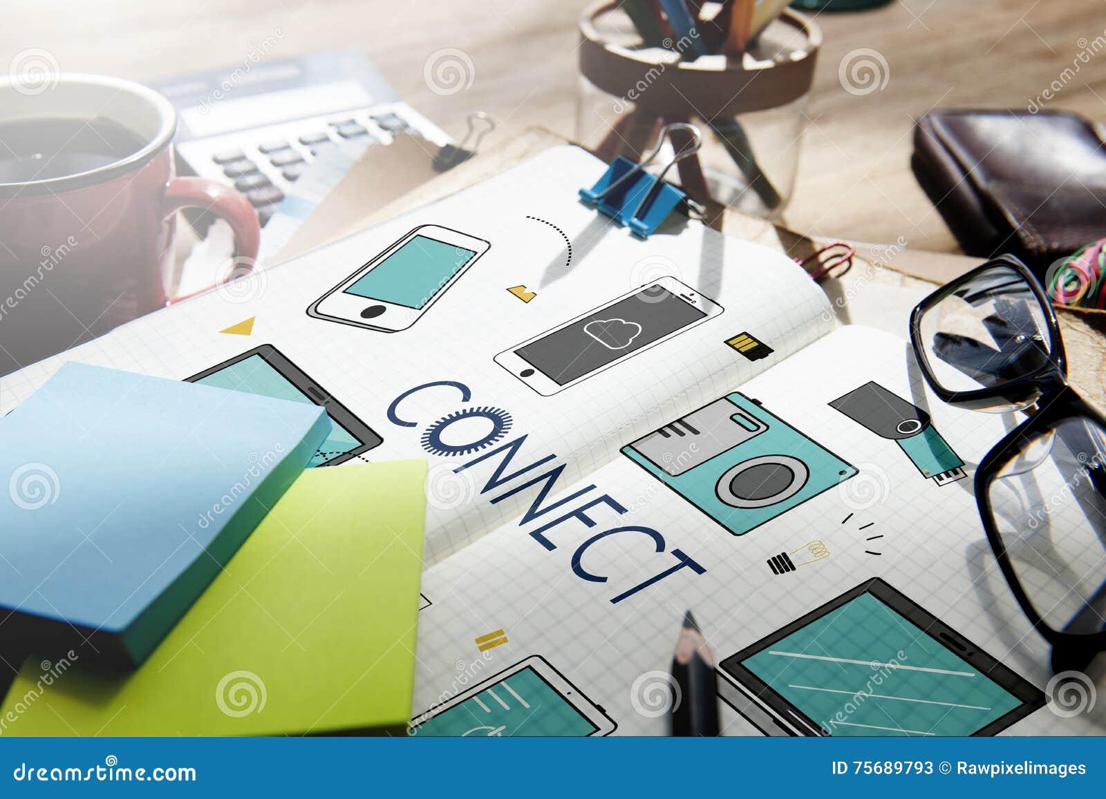 Συνδέστε την έννοια επικοινωνίας τεχνολογίας συσκευών σύνδεσης
