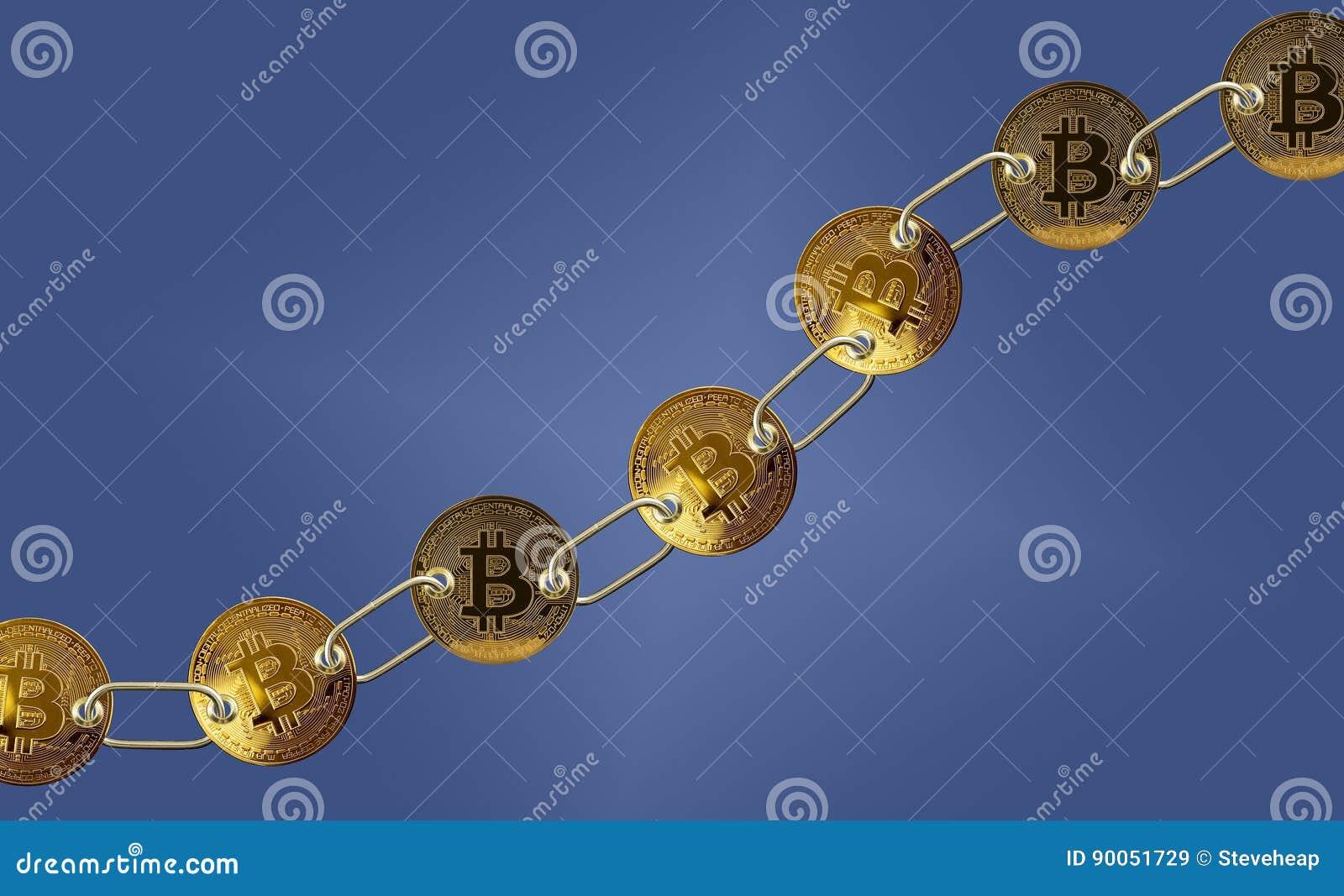 Συνδεμένος bitcoins με το μπλε υπόβαθρο για το blockchain