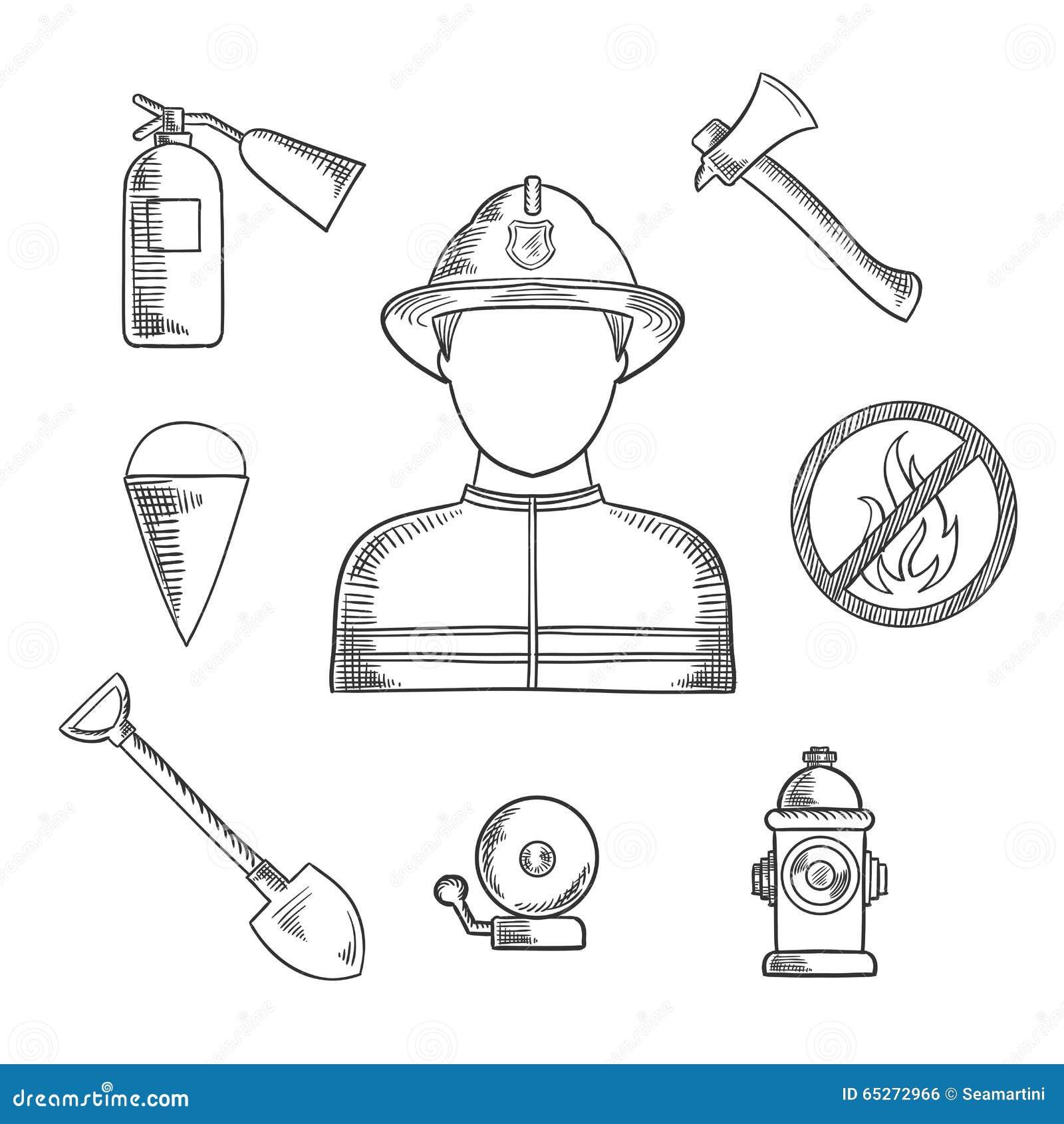 Συρμένα εικονίδια σκίτσων επαγγέλματος πυροσβεστών χέρι