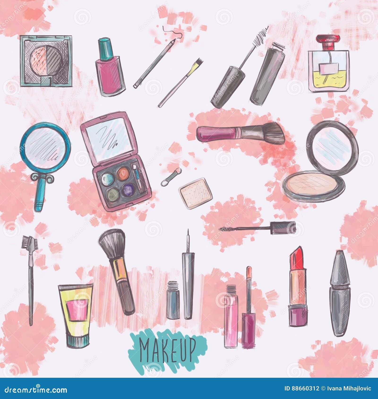 συρμένα προϊόντα απεικόνισης χεριών makeup που τίθενται διανυσματικά